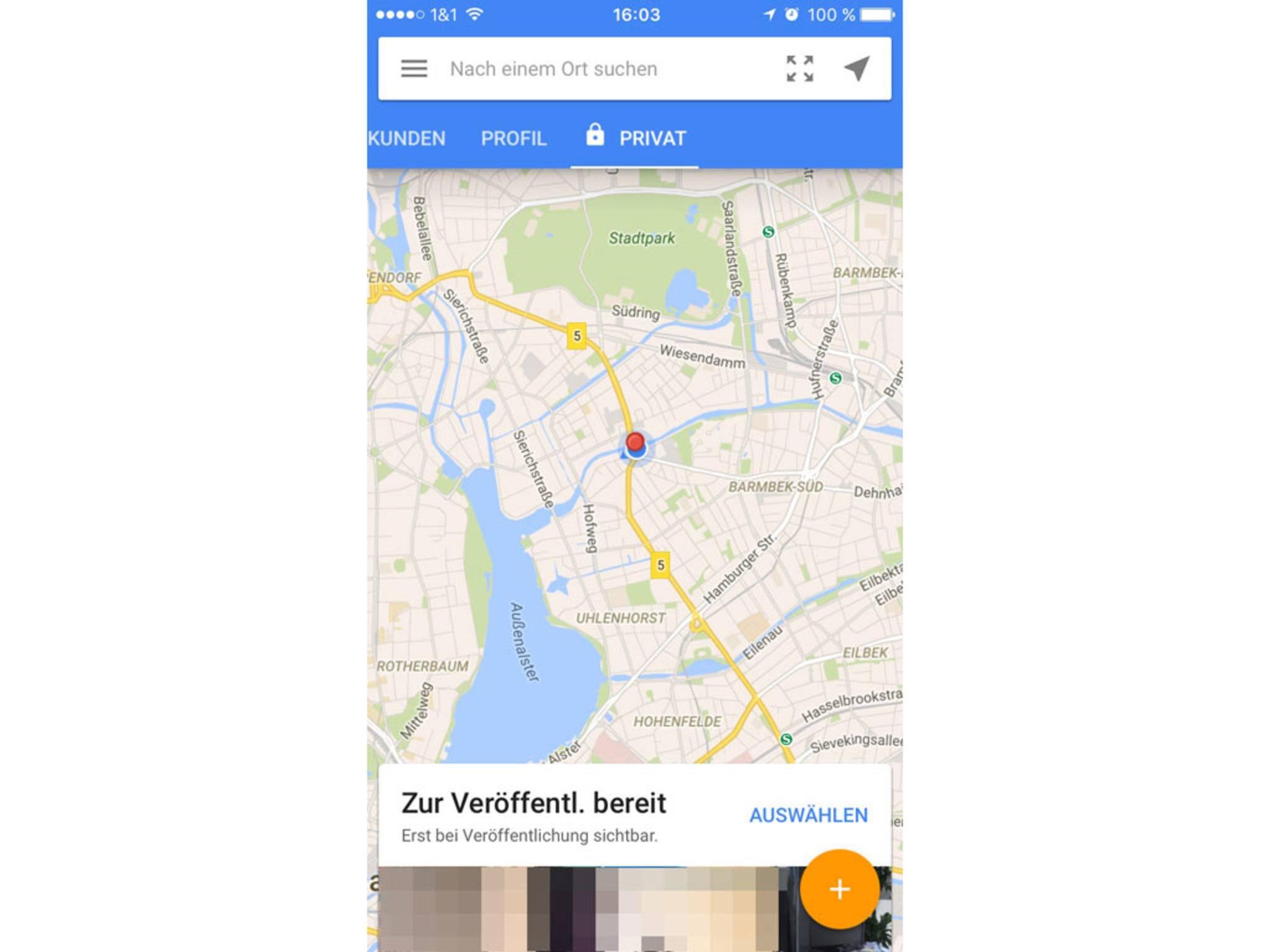 Um ein 360-Grad-Foto in Street View anzufertigen, klicke auf das Plus-Zeichen.