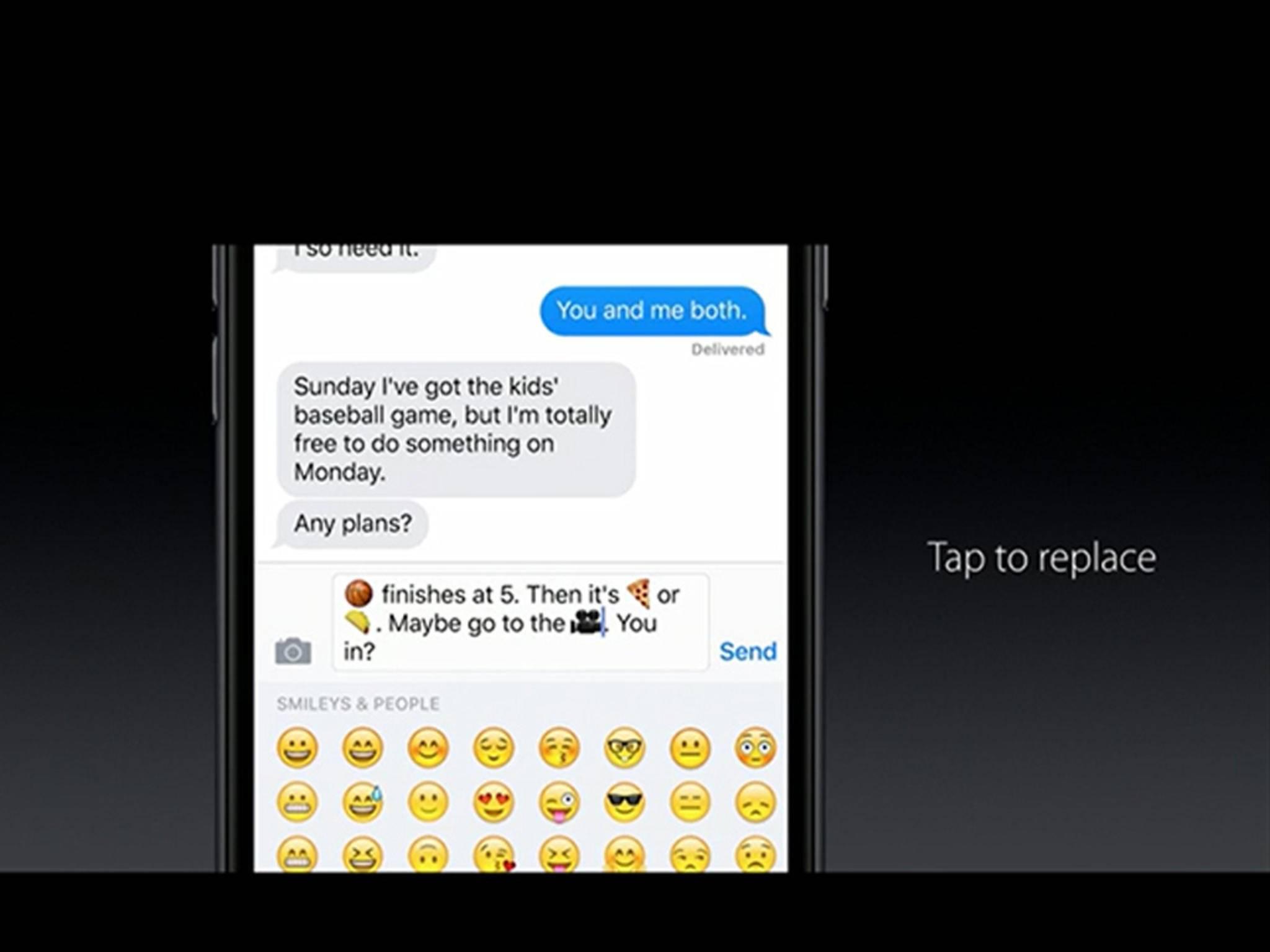 iOS 10 wird neue animierte Emojis für iMessage mitbringen.