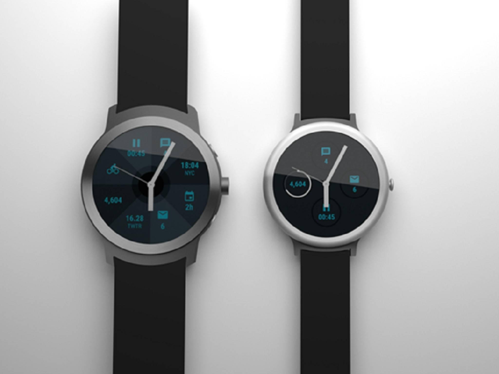 So könnten Googles Android Wear-Smartwatches aussehen.