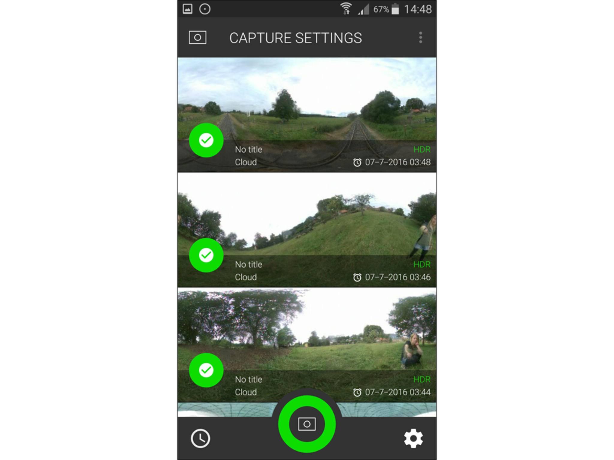 In der Panono-App gibt es einen Auslöser und eine Vorschau der Bilder.
