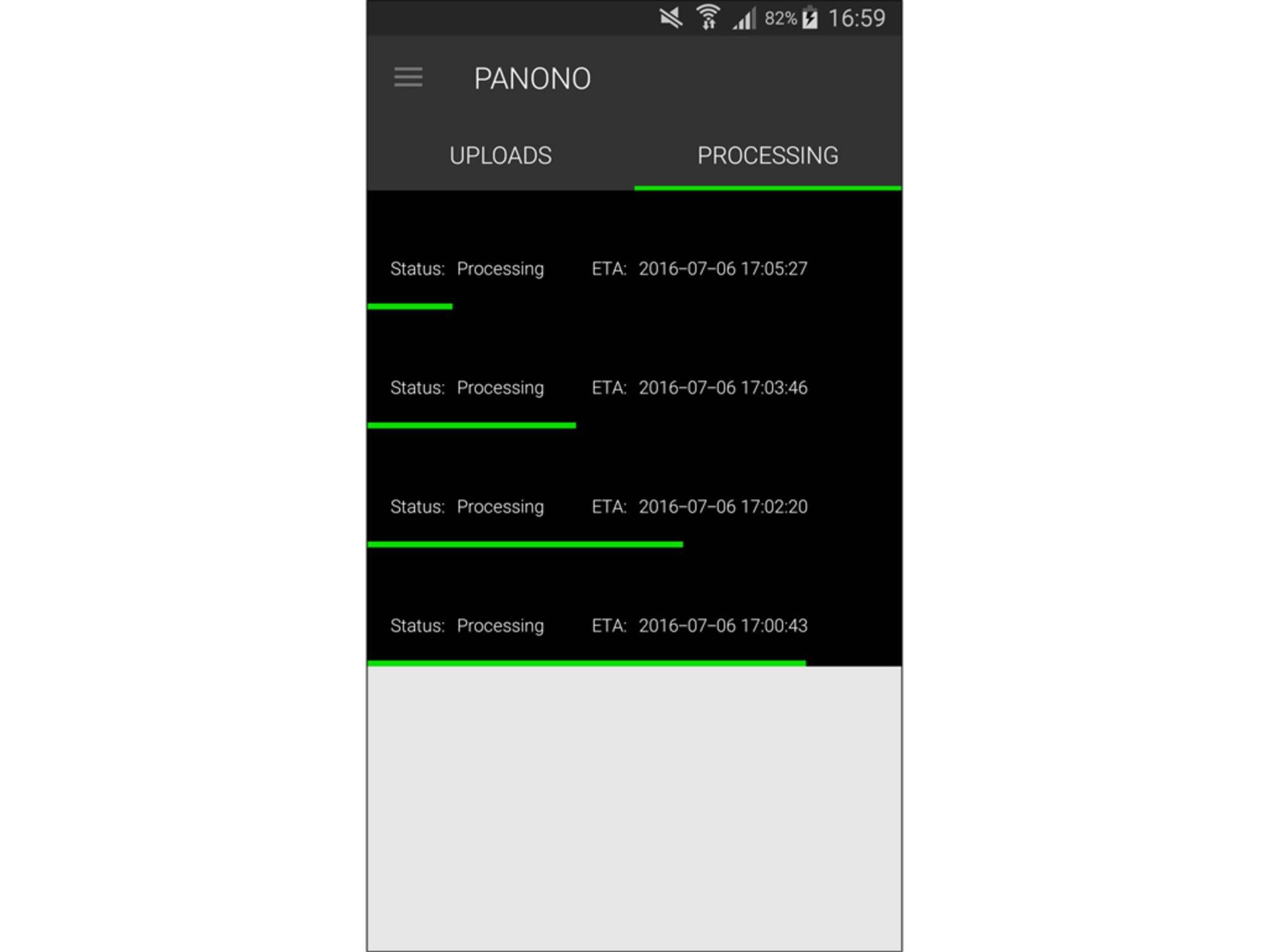 Über die App werden die Bilder auf die Panono-Server geladen.