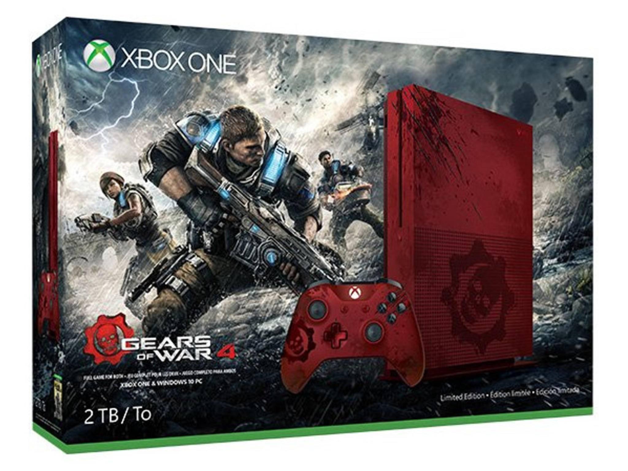 """Das bluttriefende """"Gears of War 4"""" erscheint im Bundle mit einer blutroten Xbox One S."""