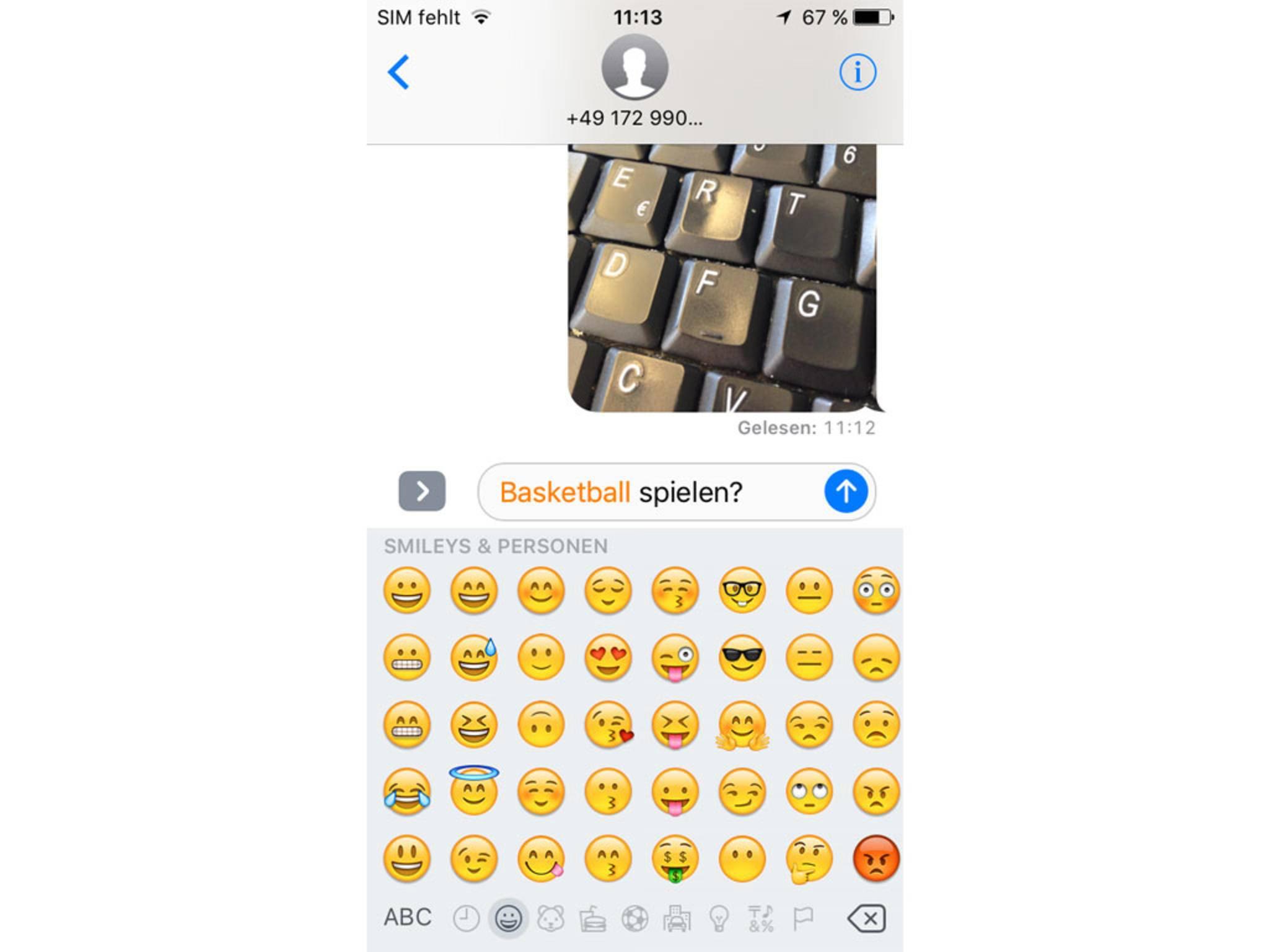 Vorschläge für Wörter, die sich durch einen Emoji ersetzen lassen.