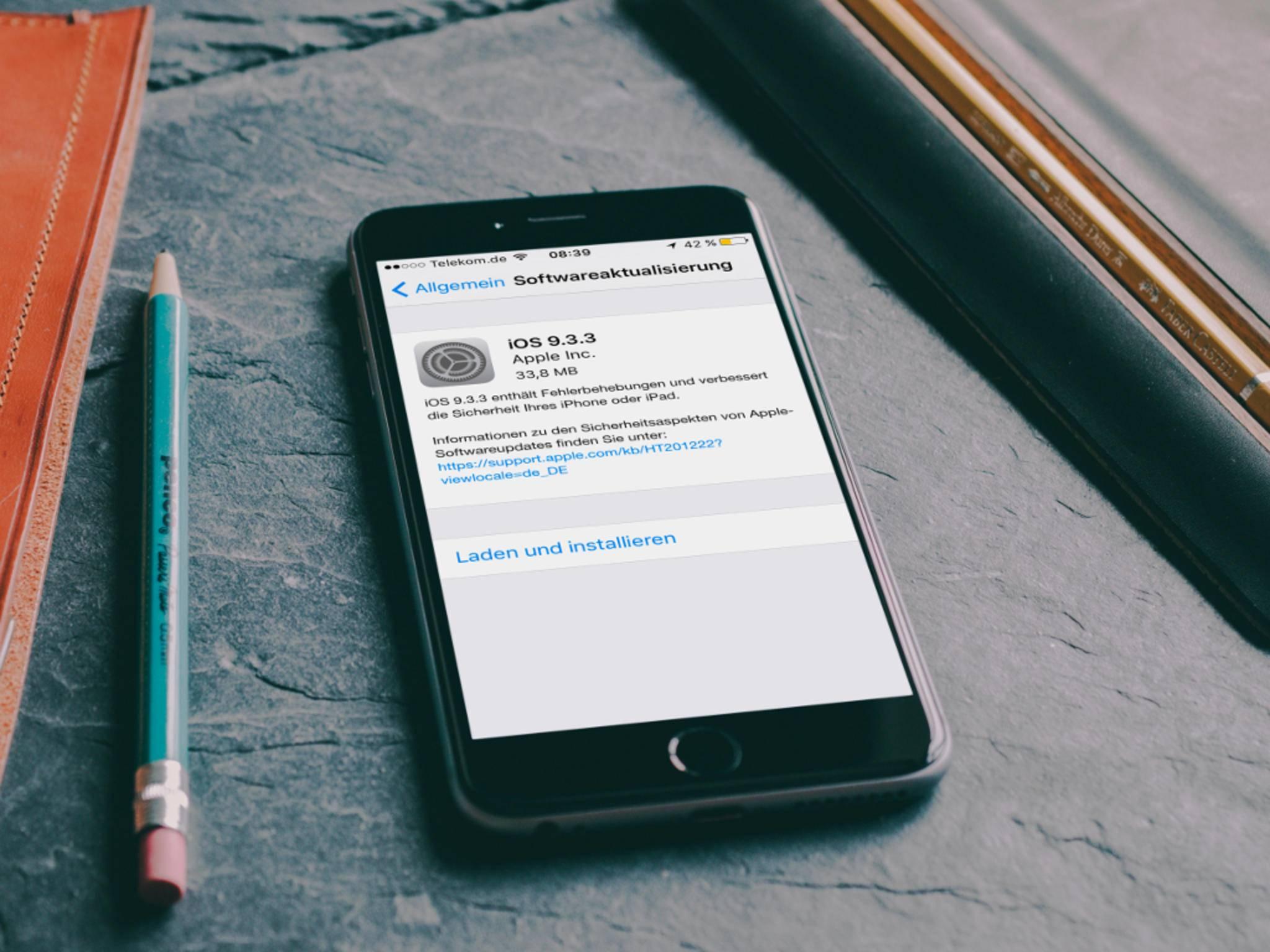 iOS 9.3.3 kann ab sofort heruntergeladen werden.