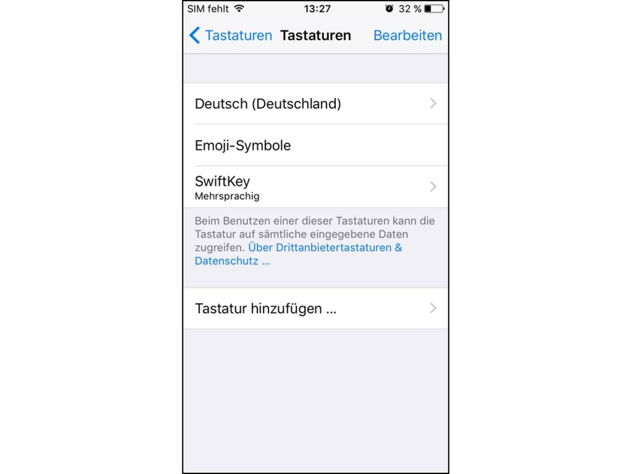 Unter iOS sollte der neuen Tastatur nach dem Hinzufügen...