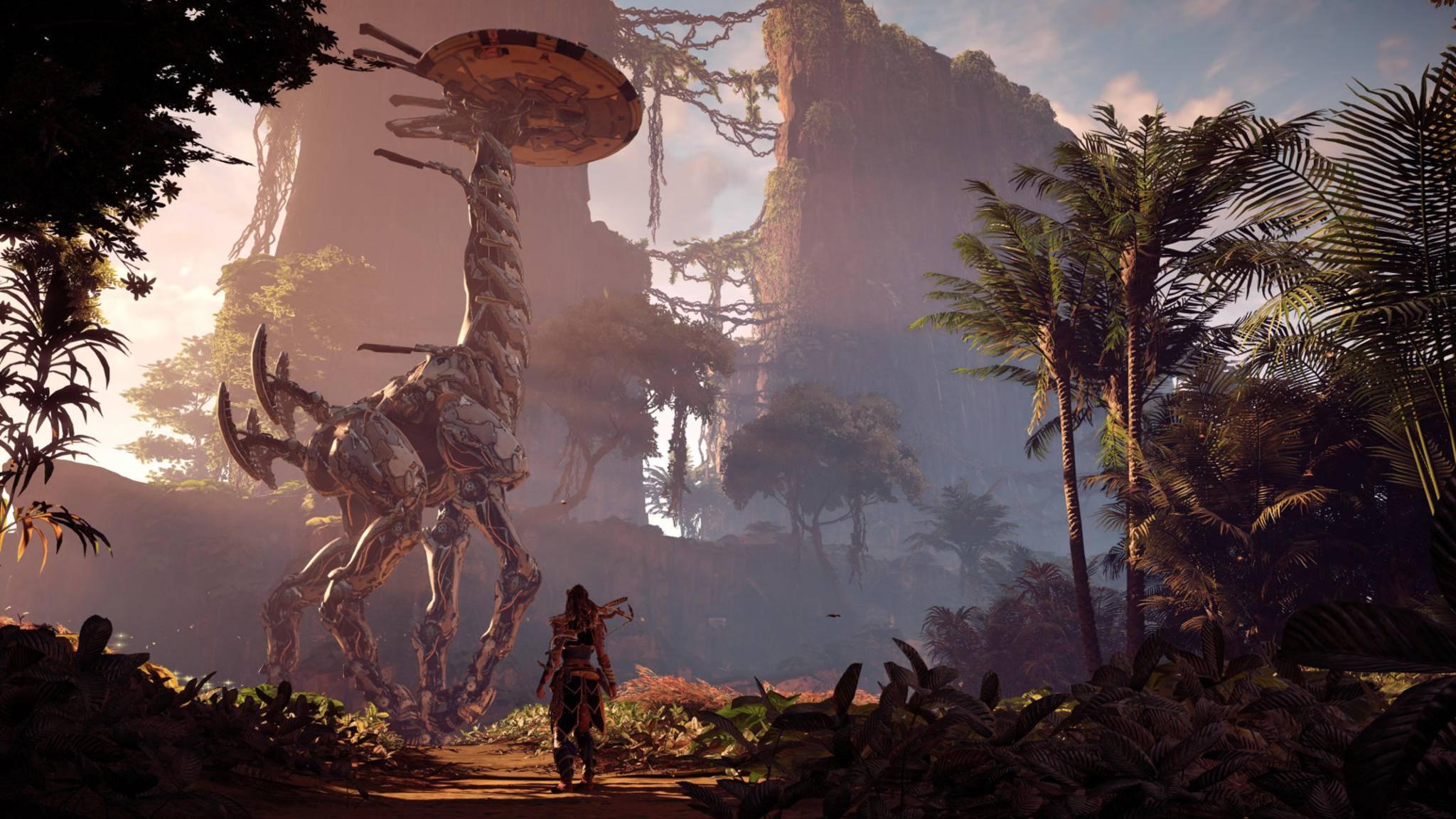 """Selbst wer mit Dinos nicht viel anfangen kann, wird die Welt von """"Horizon Zero Dawn"""" faszinierend finden."""