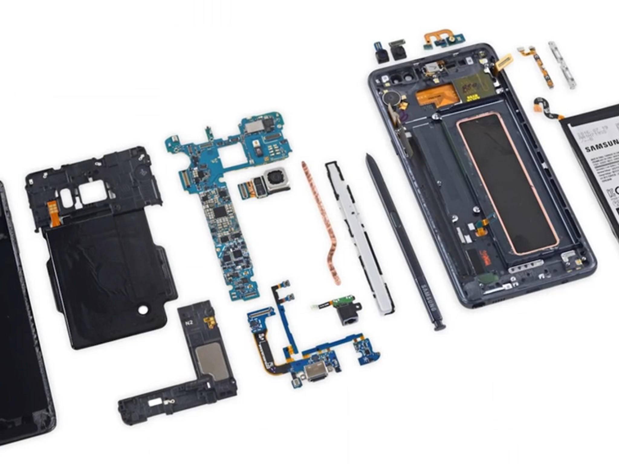 Die Innereien des Samsung Galaxy Note 7.