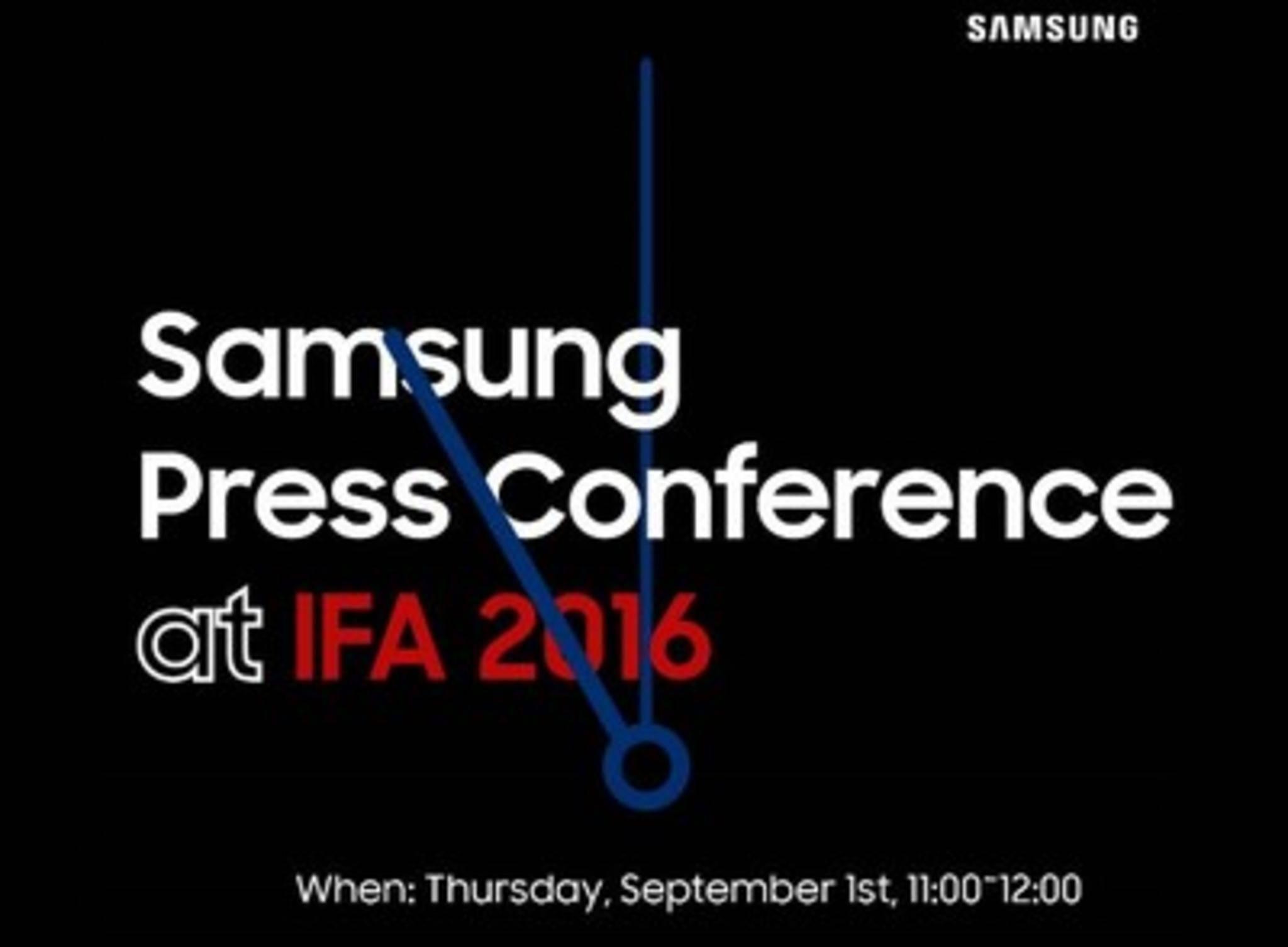 Samsung lädt zur IFA-Pressekonferenz am 1. September 2016.