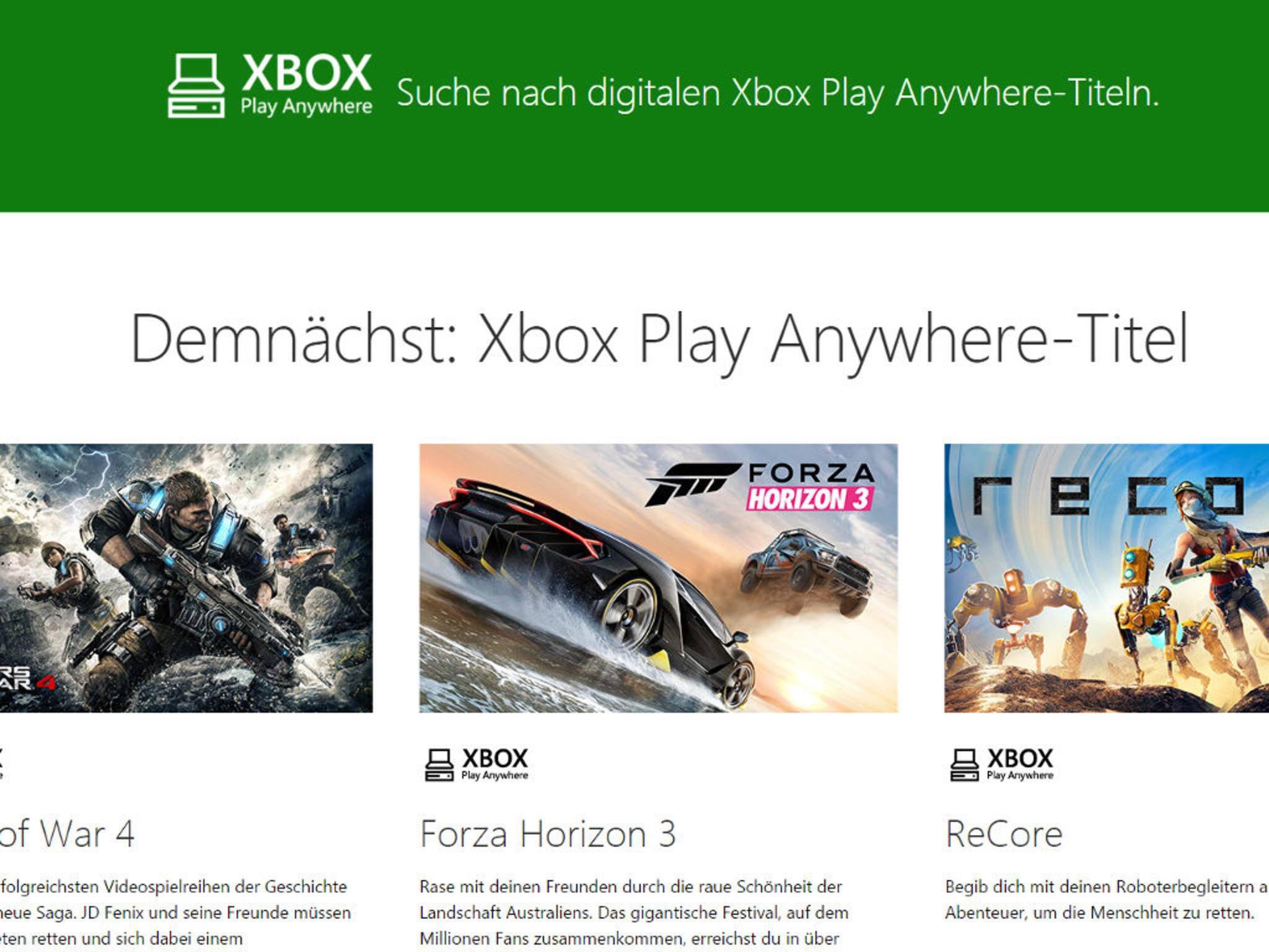 Games mit dem Play Anywhere-Symbol können sowohl auf Xbox als auch auf PC gespielt werden.