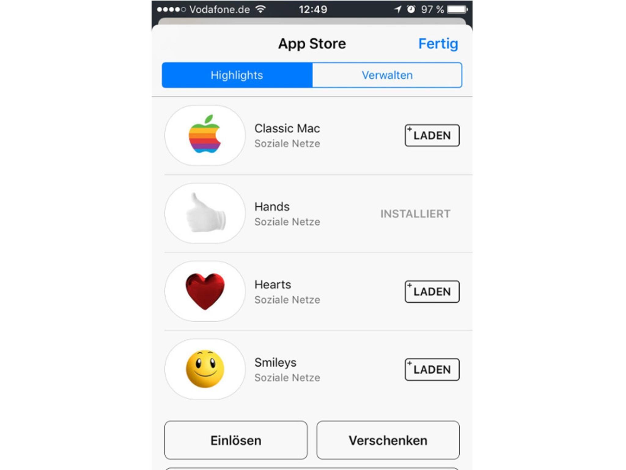 Erweiterungen: Der App Store öffnet sich direkt in iMessage.