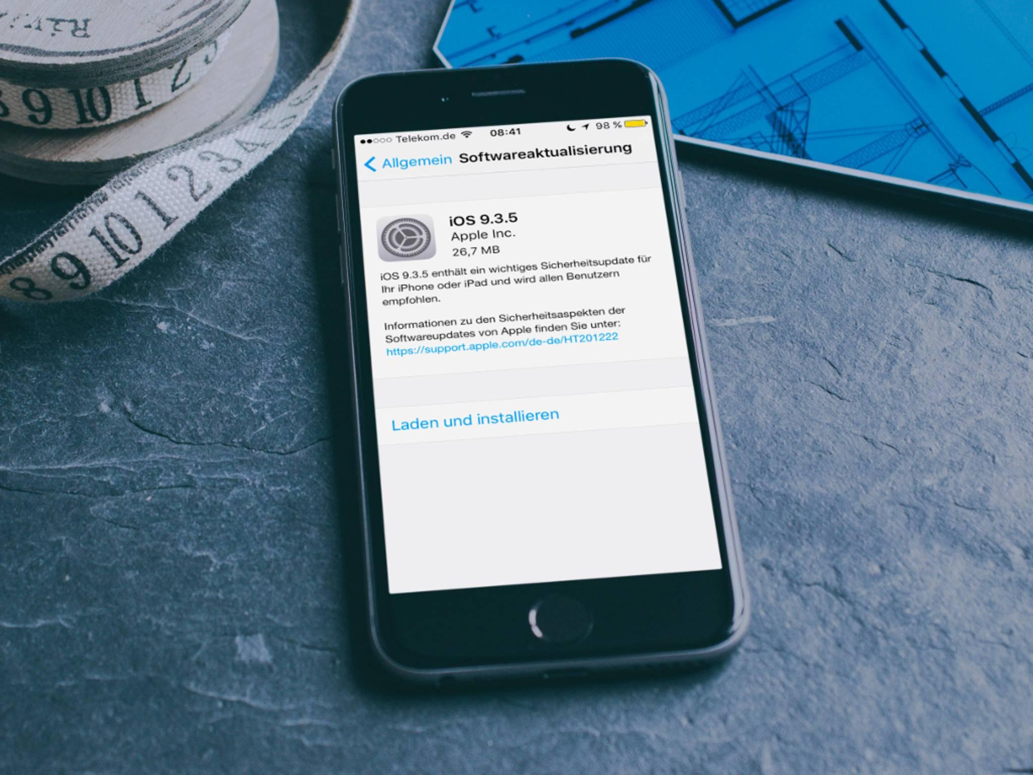 iOS 9.3.5 schließt mehrere Sicherheitslücken im Betriebssystem.