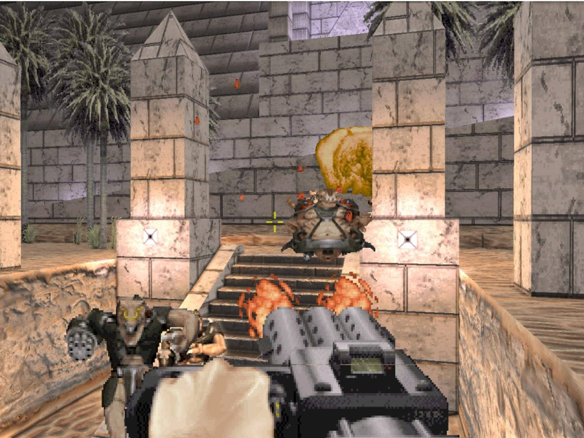 In der Neuauflage darf der Duke auch in Ägypten Aliens abballern.