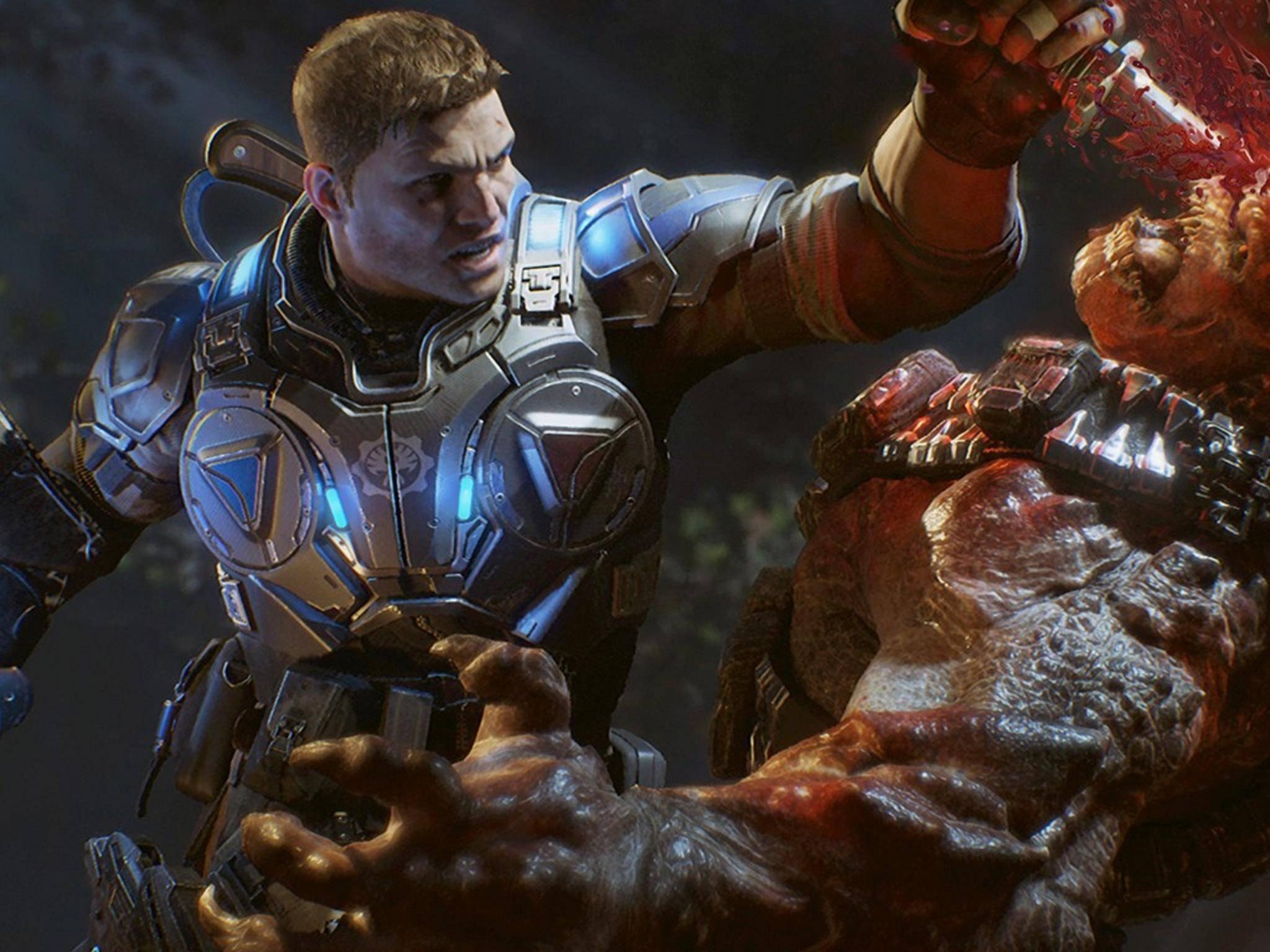"""In """"Gears of War 4"""" geht es ekligen Monstern auf eklige Art an den Kragen."""