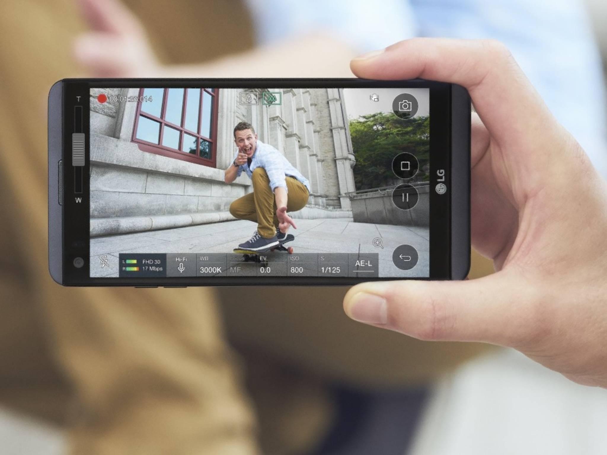 Beim LG V20 diente das Zusatz-Display (hier ganz links) unter anderem als Extraleiste für Kamerafunktionen.