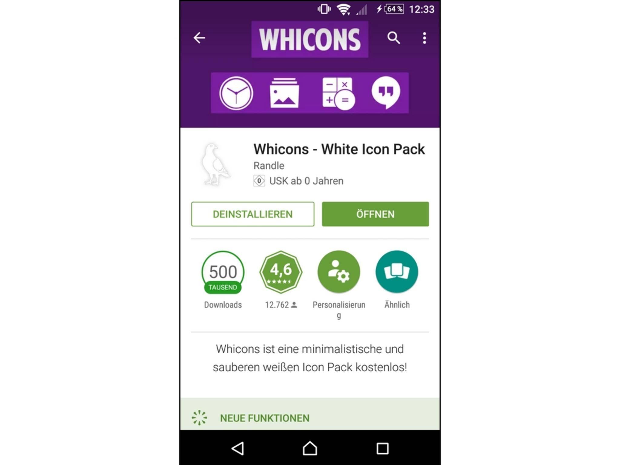 Das Icon-Pack wird direkt aus dem Google Play Store heruntergeladen.