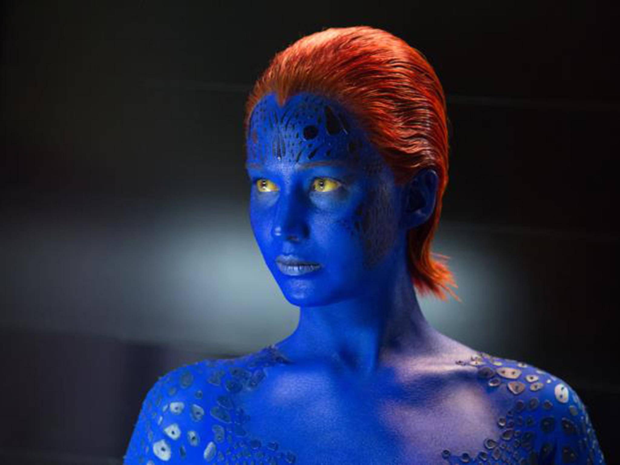 Blau am Arbeitsplatz: Jennifer Lawrence in ihrer Rolle als Mystique.