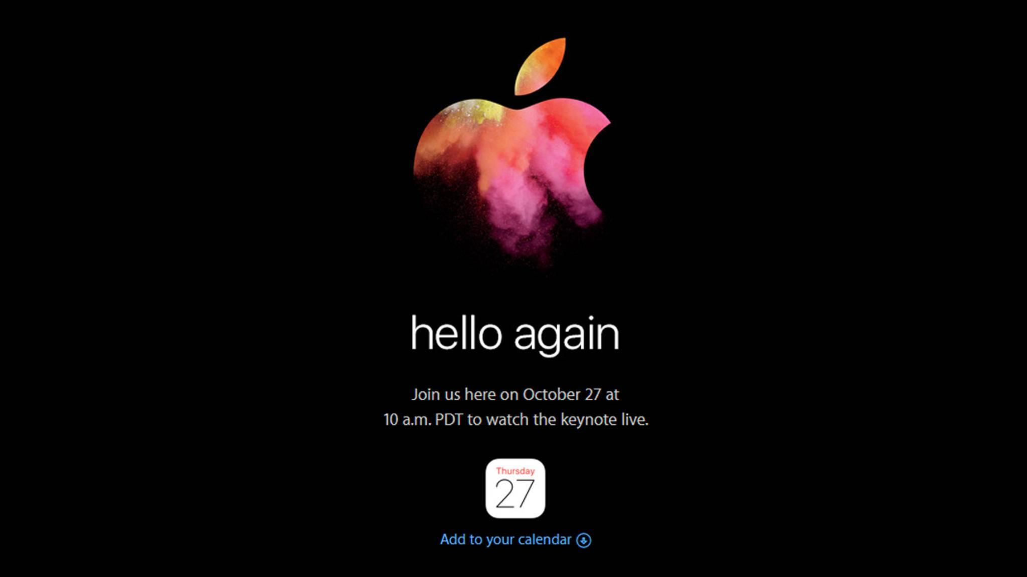 Apple lädt zur Keynote am 27. Oktober.