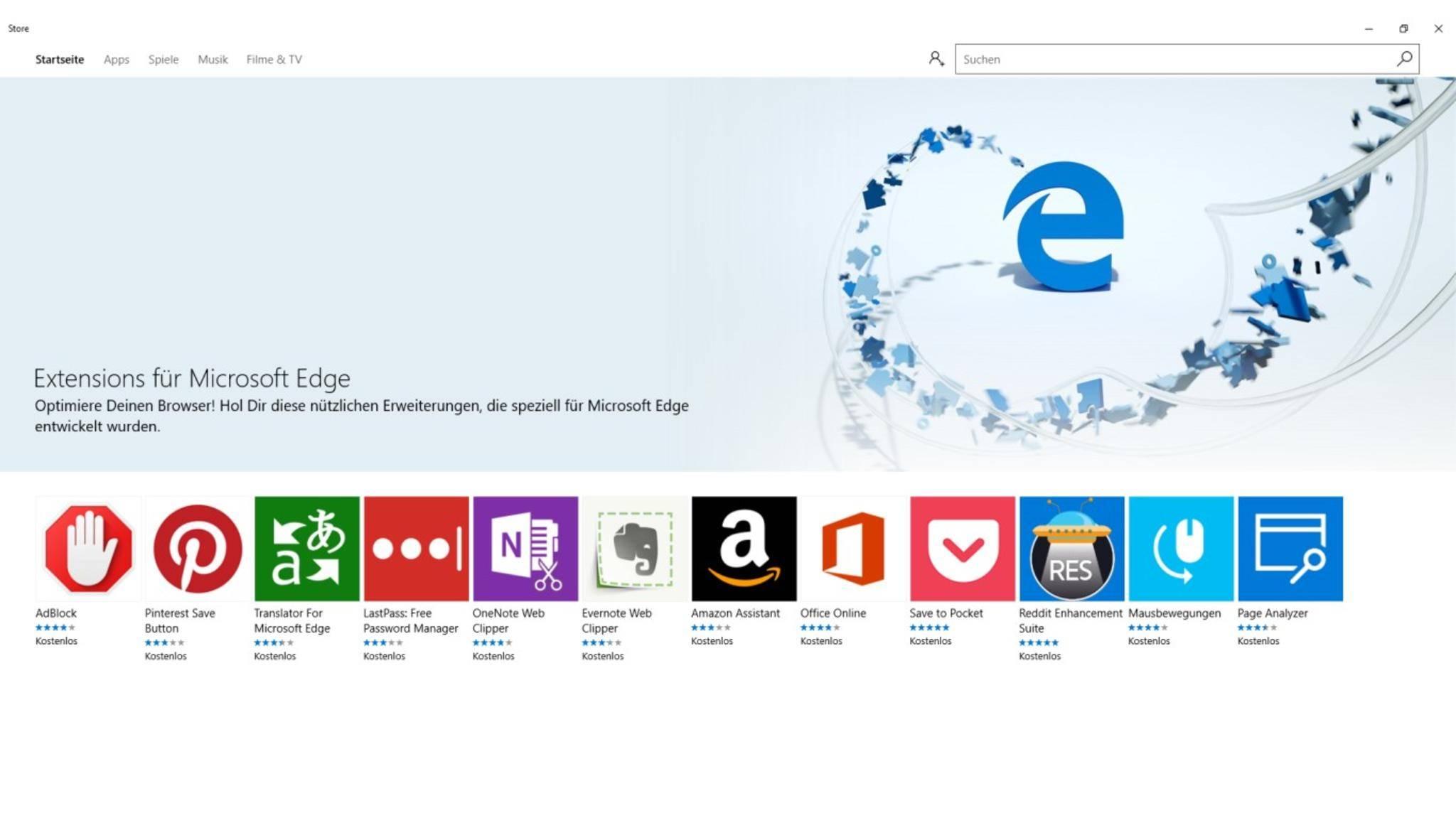 Mit den Erweiterungen lässt sich gleich viel besser mit dem Microsoft Edge Browser arbeiten.