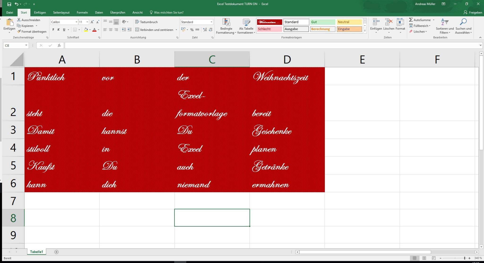 Mit einer benutzerdefinierten Zellenformatvorlage für Excel bist Du für Weihnachten gerüstet.