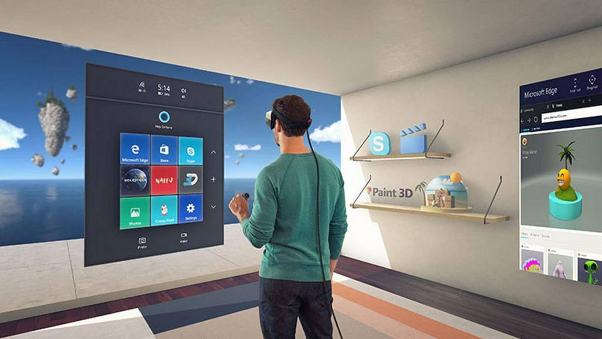 Windows 10 soll sich bald mit VR-Brillen steuern lassen.