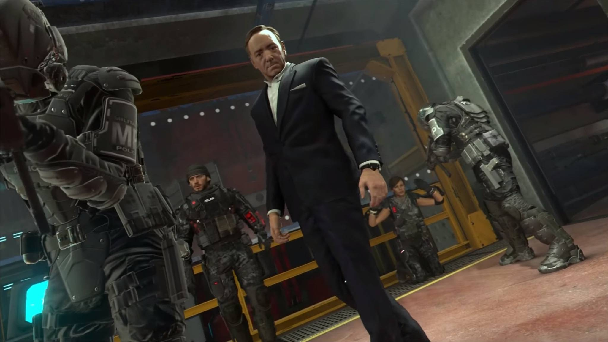 "Kevin Spacey als Bösewicht Jonathan Irons in ""Call of Duty: Advanced Warfare"""