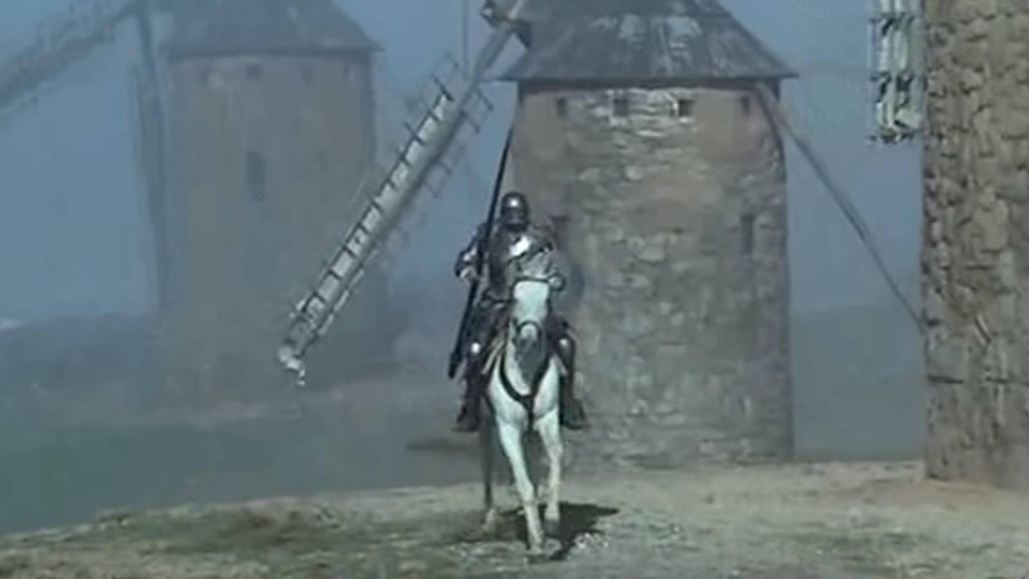 Don Quijotes Kampf gegen Windmühlen ist weltbekannt und wurde bereits mehrfach verfilmt (hier in einer spanischen Fernsehserie von 1992).