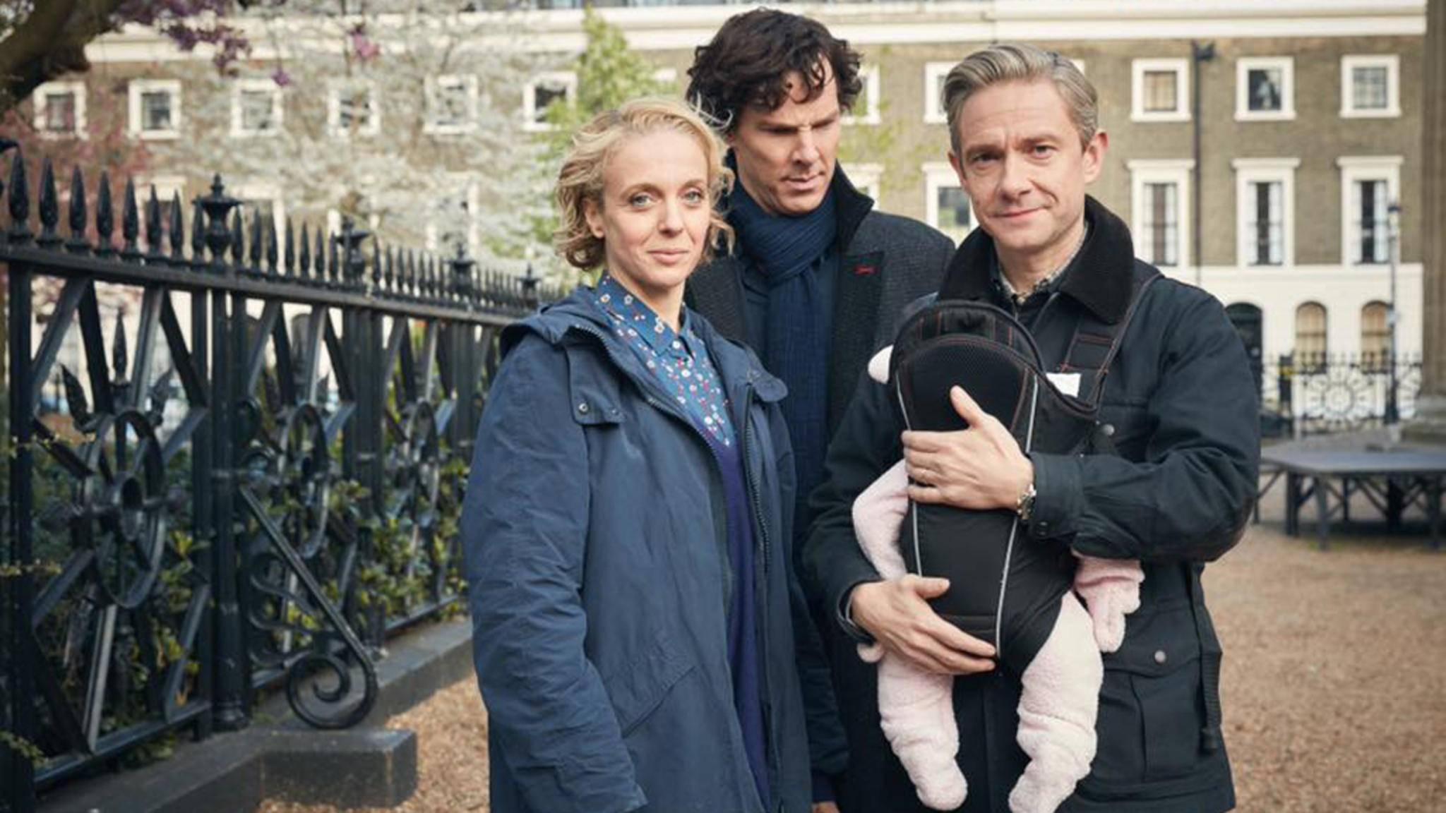 """""""Was ist es und wie stellt man es ab?"""" Sherlock und das Watson-Baby verspricht ein interessanter Handlungsstrang in Staffel 4 zu werden."""