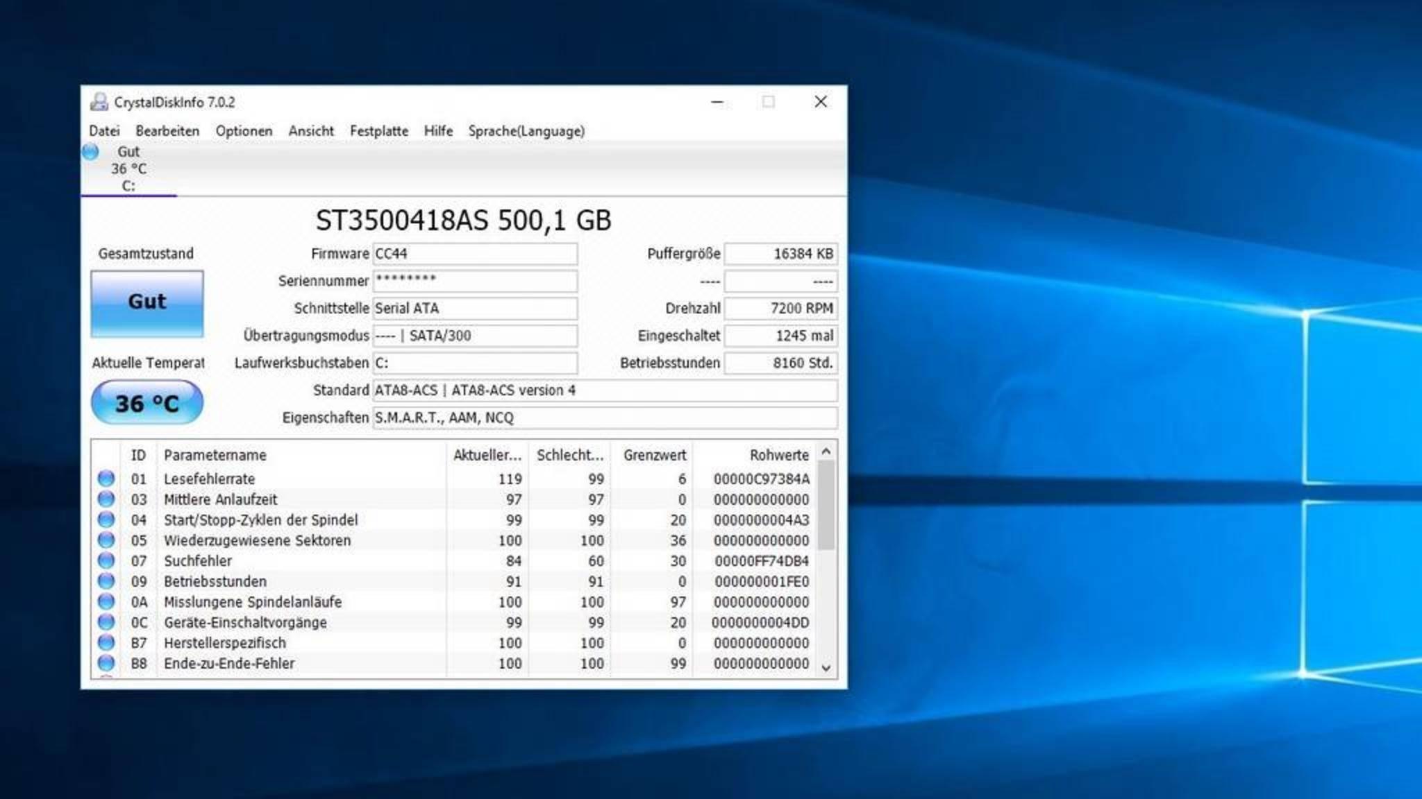 CrystalDiskInfo liefert alle wichtigen Informationen zu den verbauten Festplatten.