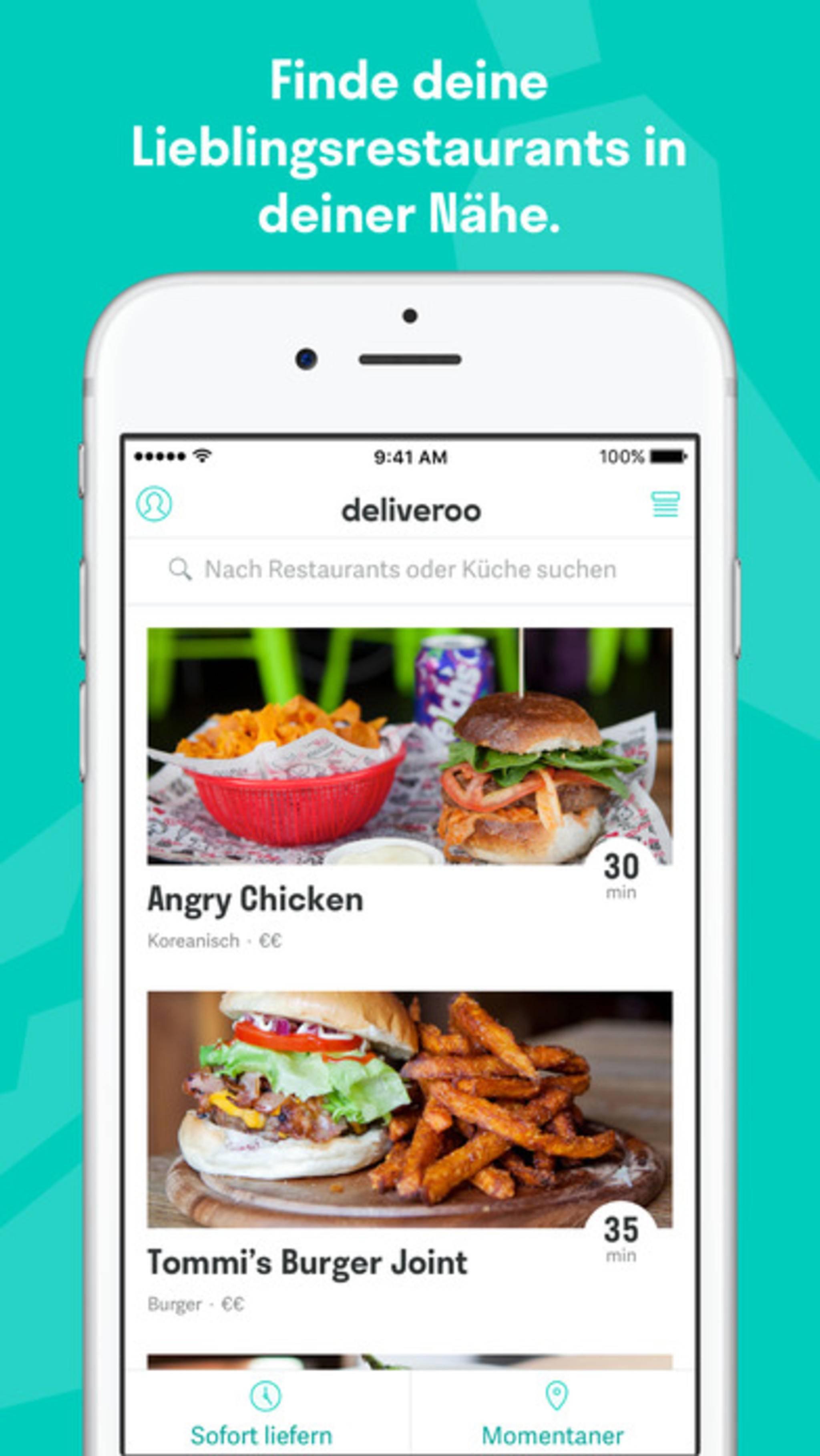 Die App Deliveroo bringt Dir Dein Essen vom Lieblingsrestaurant nach Hause.