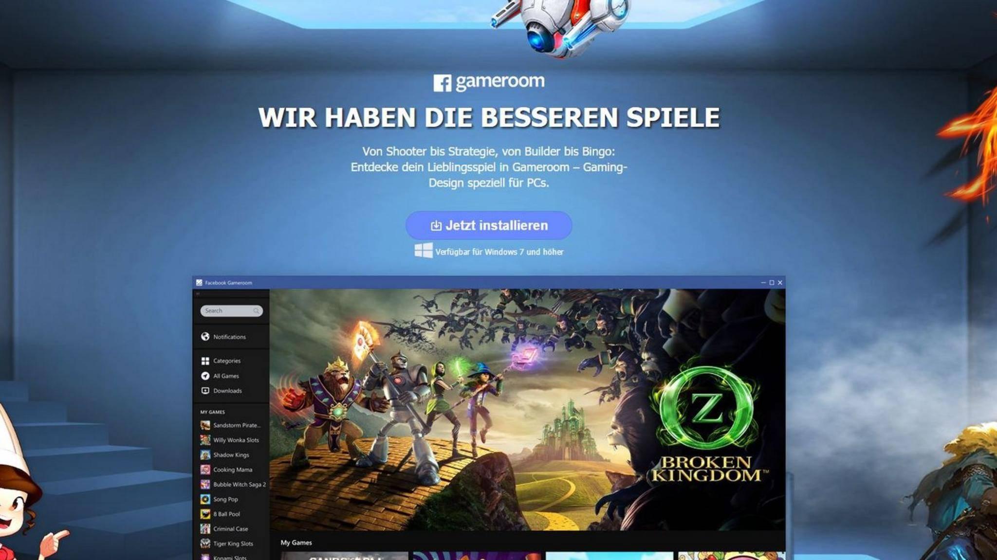 Facebook hat seine Spieleplattform Gameroom gestartet.