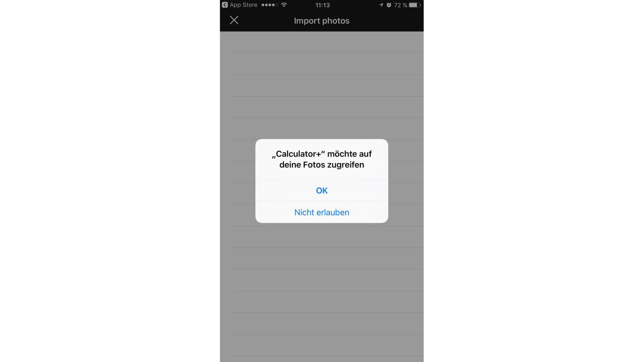 Die App benötigt natürlich Zugriff auf die Fotos-App.