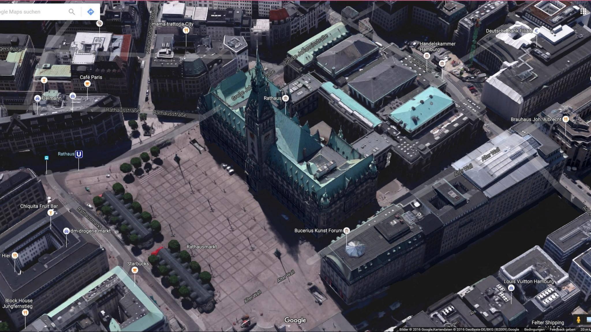 Die 3D-Ansicht von Google Maps erlaubt einen ersten Eindruck des Stadtbilds von zum Beispiel Hamburg.