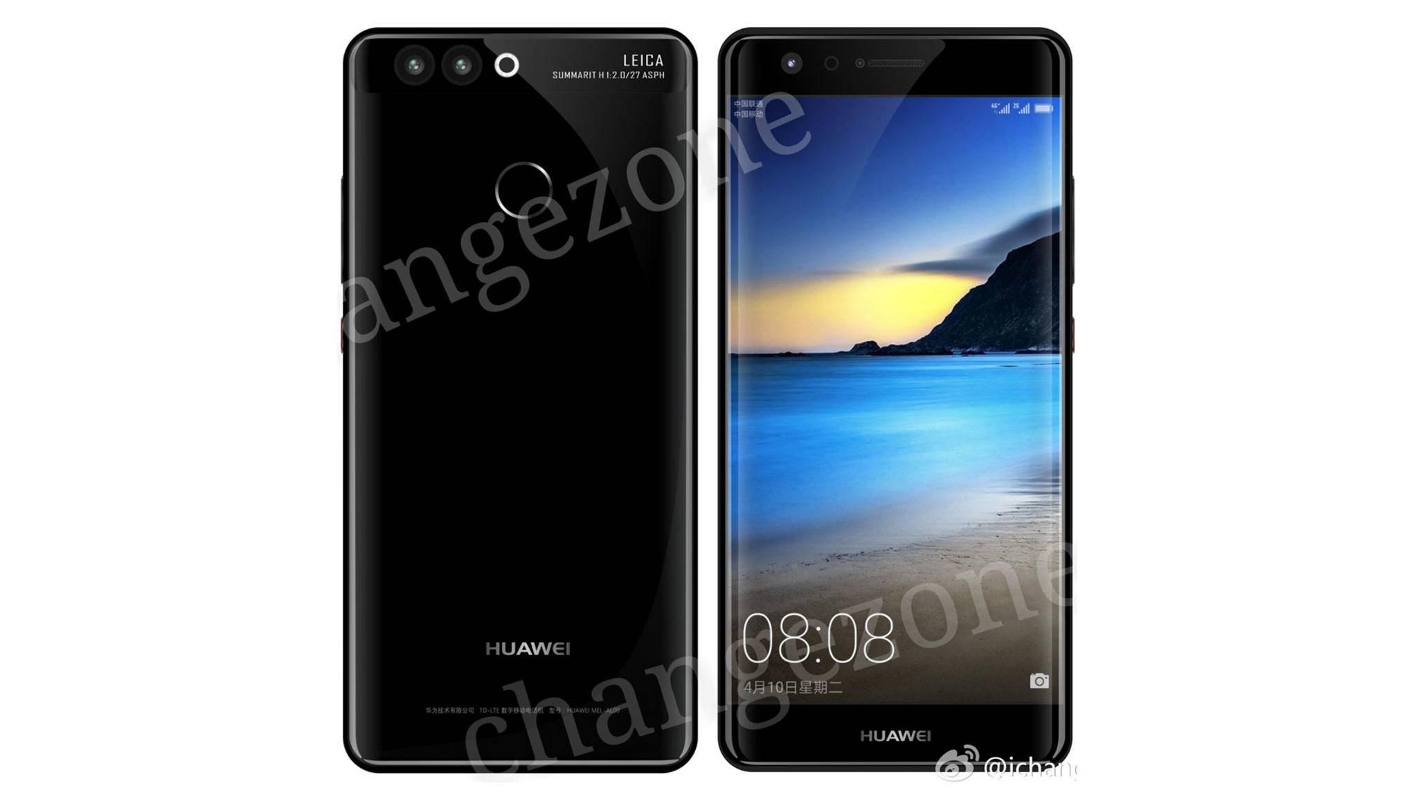 Kein physischer Home-Button, dafür ein eleganter Schrifzug: Das Huawei P10 als Render.