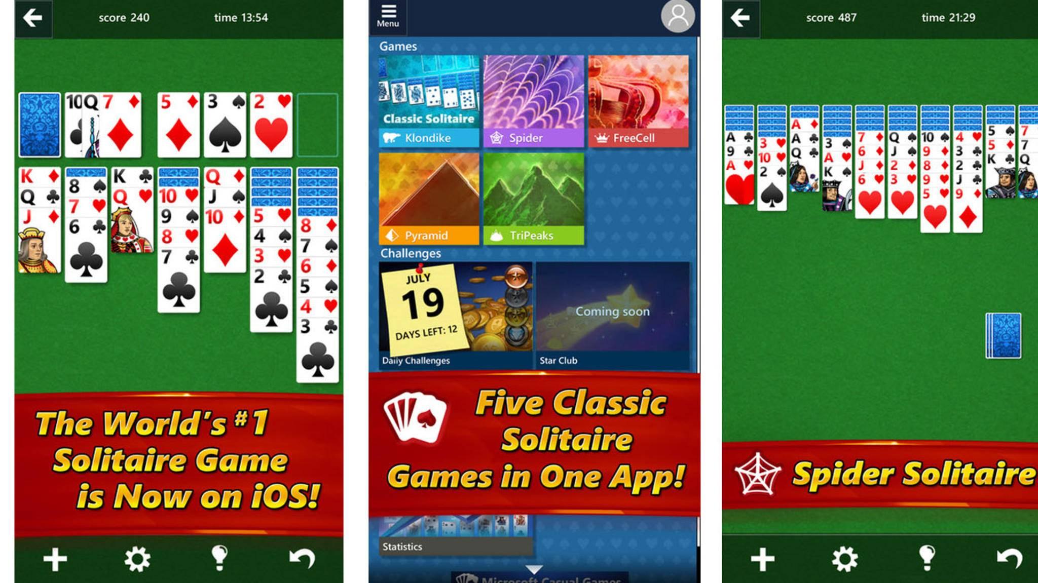 """Der Windows-Klassiker """"Solitaire"""" findet seinen Weg auf iOS und Android."""
