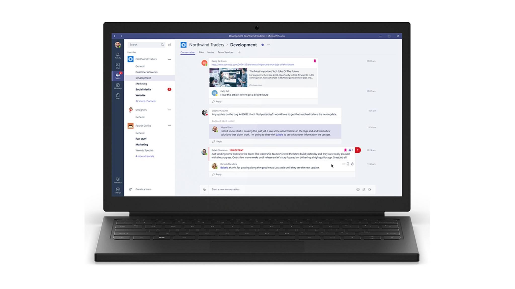 Microsoft greift mit Teams den Konkurrenten Slack an.