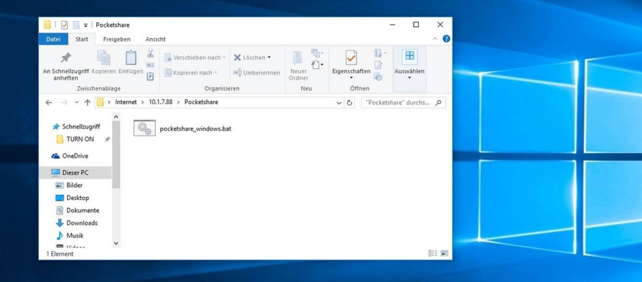 Nun kannst Du die erstellte Batch-Datei auf den PC kopieren.