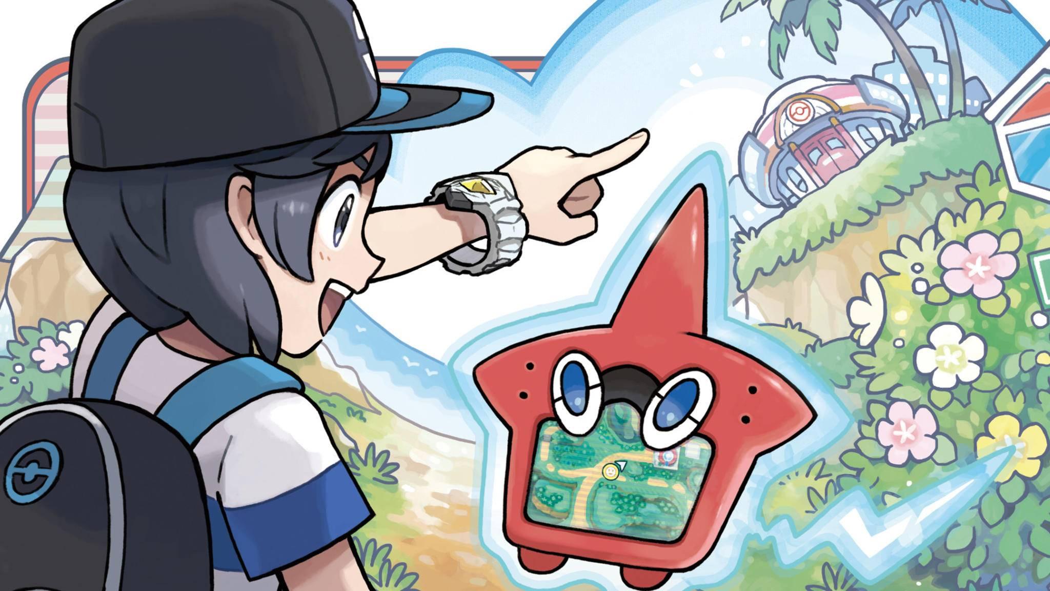 Der sternförmige Rotom-Pokédex zeigt nach dem QR-Scan an, wo ein Pokémon zu finden ist.
