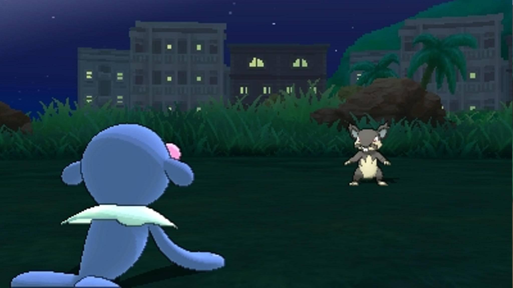 """Kämpfe in """"Pokémon Mond"""" finden je nach Uhrzeit eher im Dunkeln statt."""