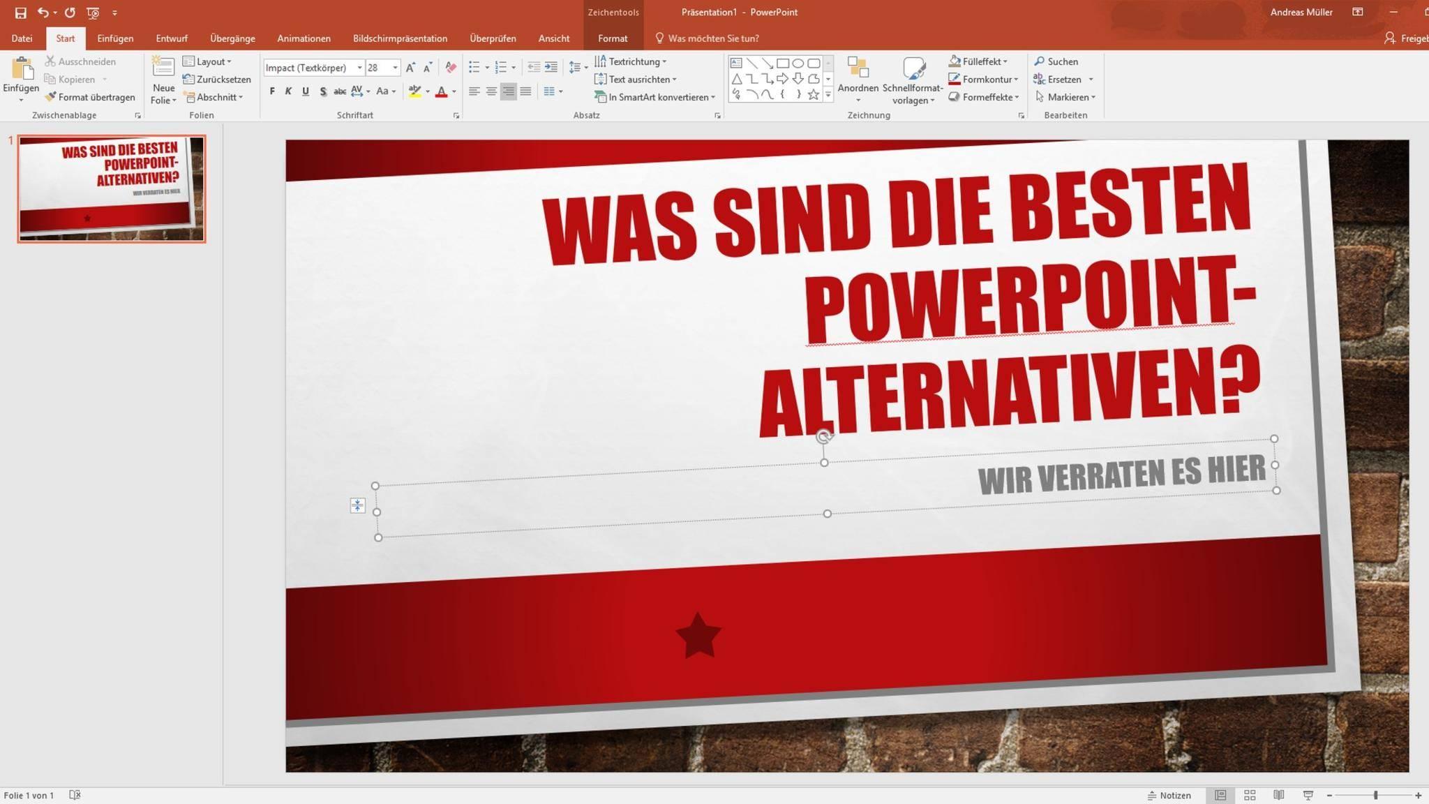 Impress aus dem Open Office-Paket ist eine gute PowerPoint-Alternative.