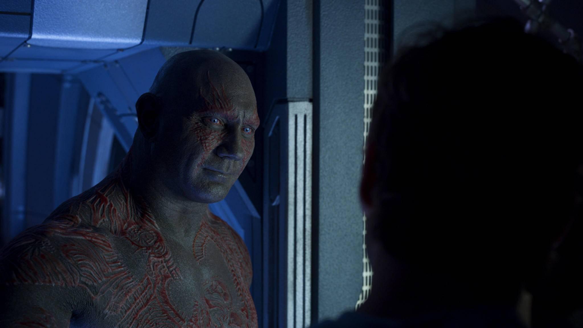 """Drax-Darsteller Dave Bautista tappt freiwillig im Dunklen, wenn es um """"Infinity War"""" geht."""