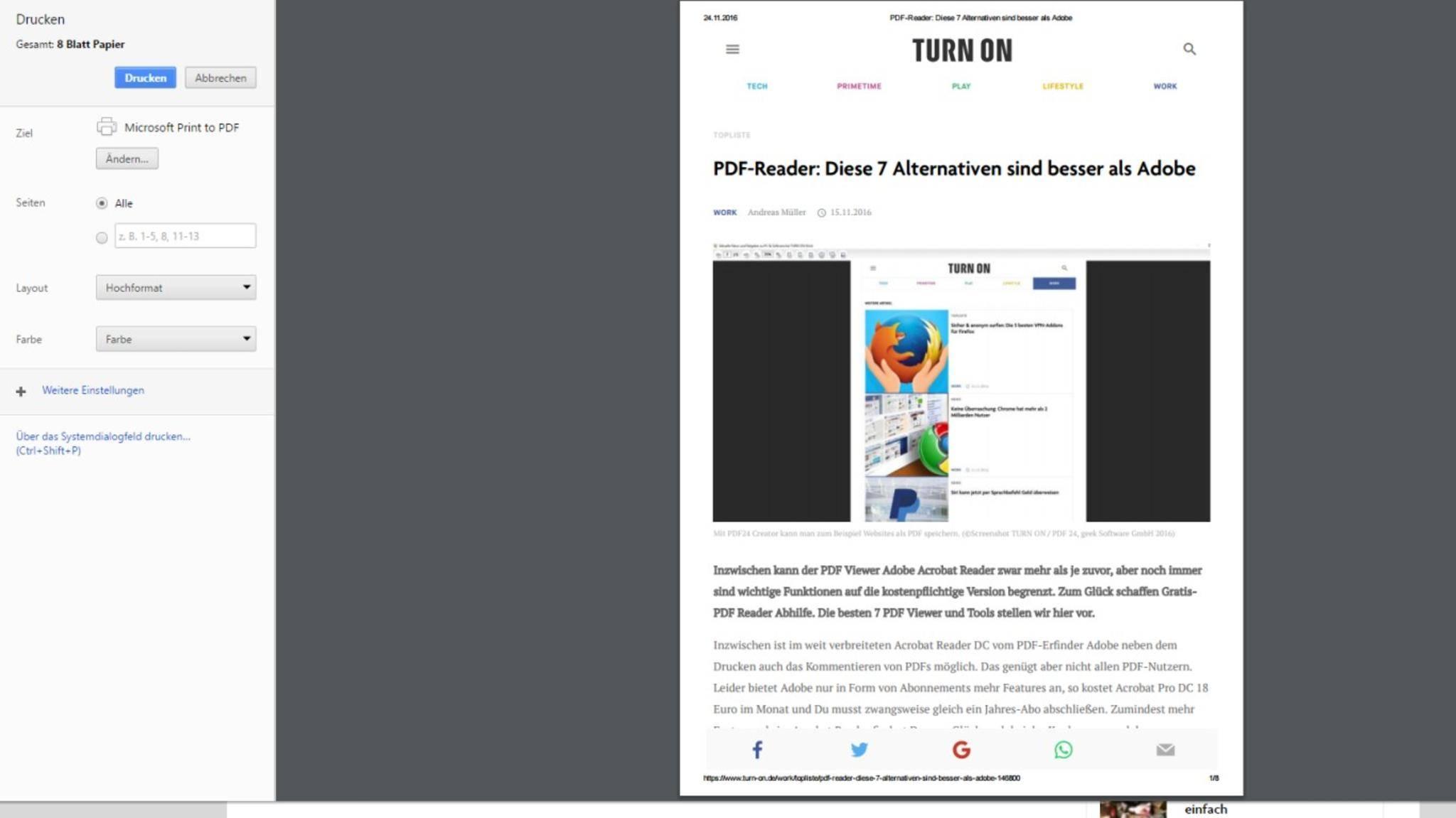 TURN ON PDF speichern Microsoft Print to PDF