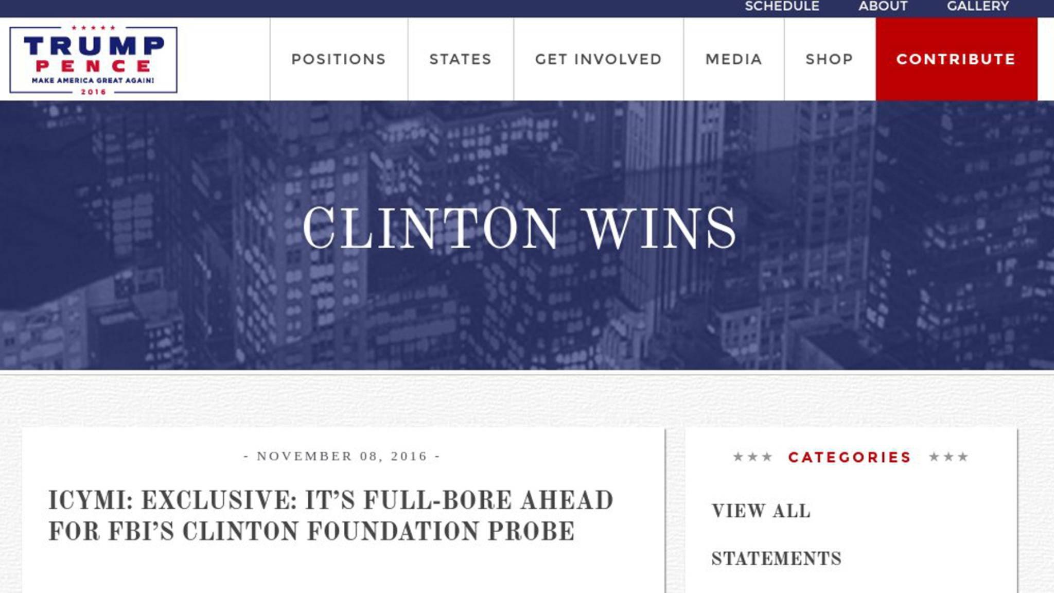Die Trump-Webseite zeigte gestern kurzzeitig das an, was man wollte.