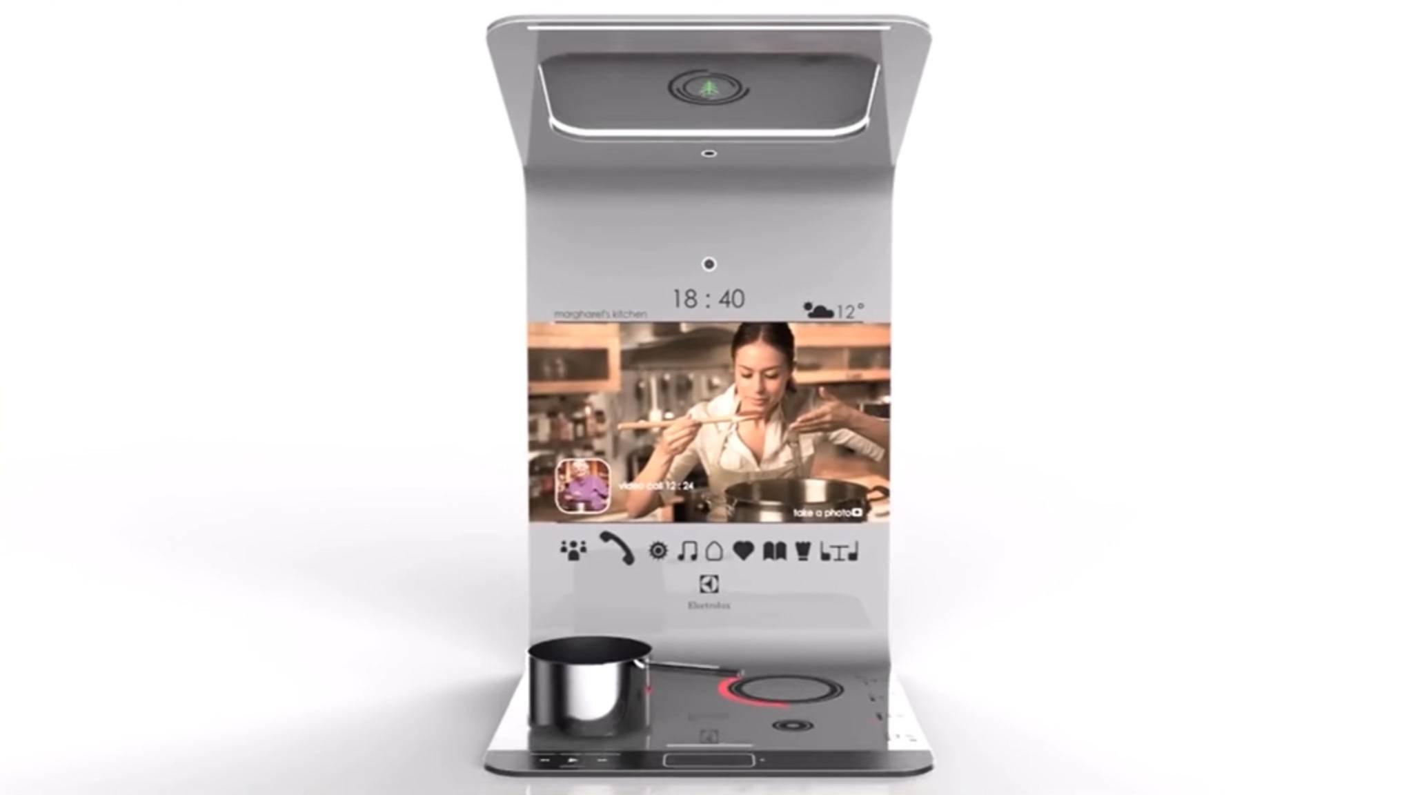 Das Kitchenbook ist eine Kochplatte mit integriertem Social Hub und soll Menschen beim Kochen weltweit miteinander vernetzen.