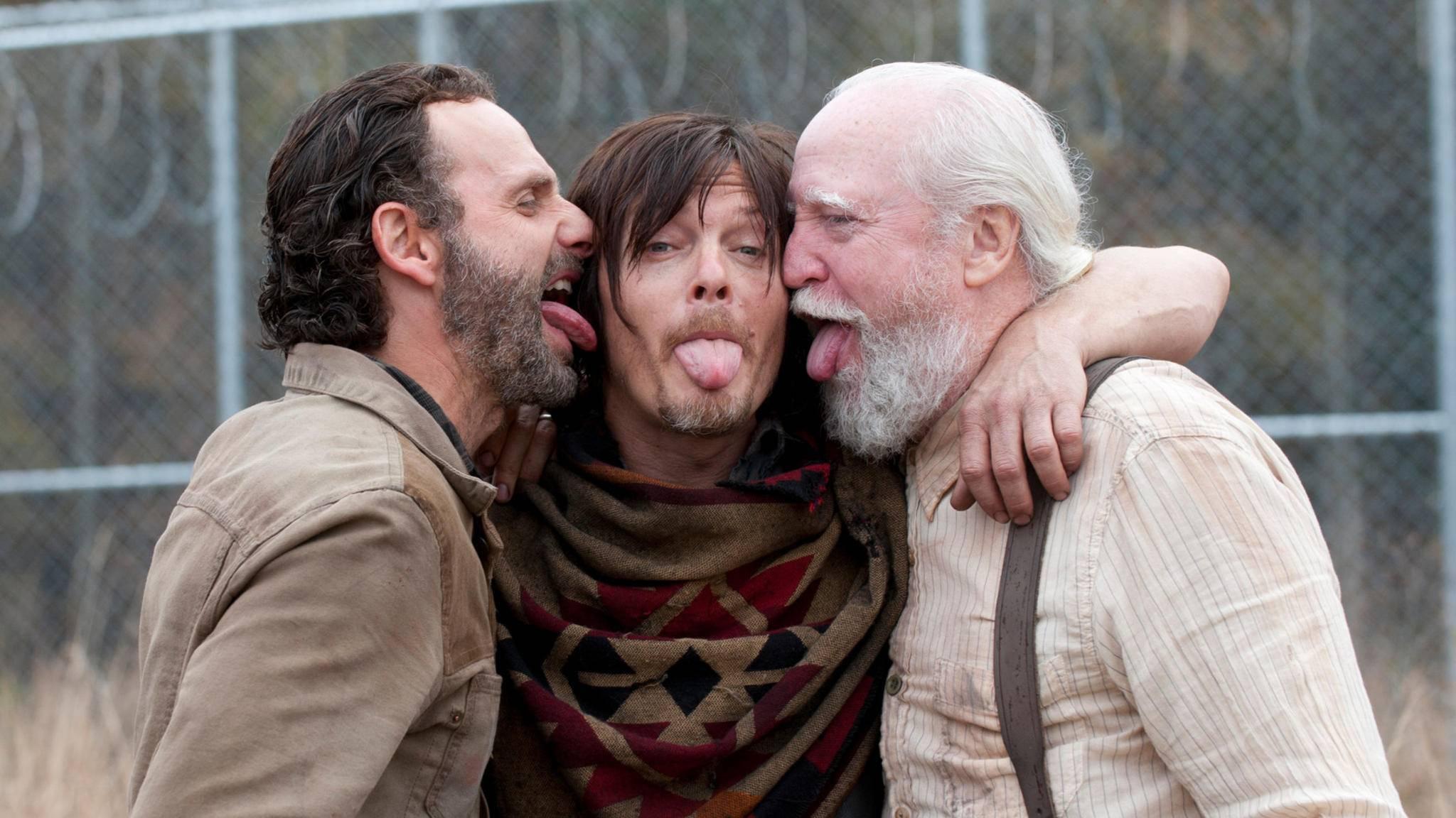 """Rick, Daryl und Hershel (v.l.n.r.) am Set von """"The Walking Dead"""""""