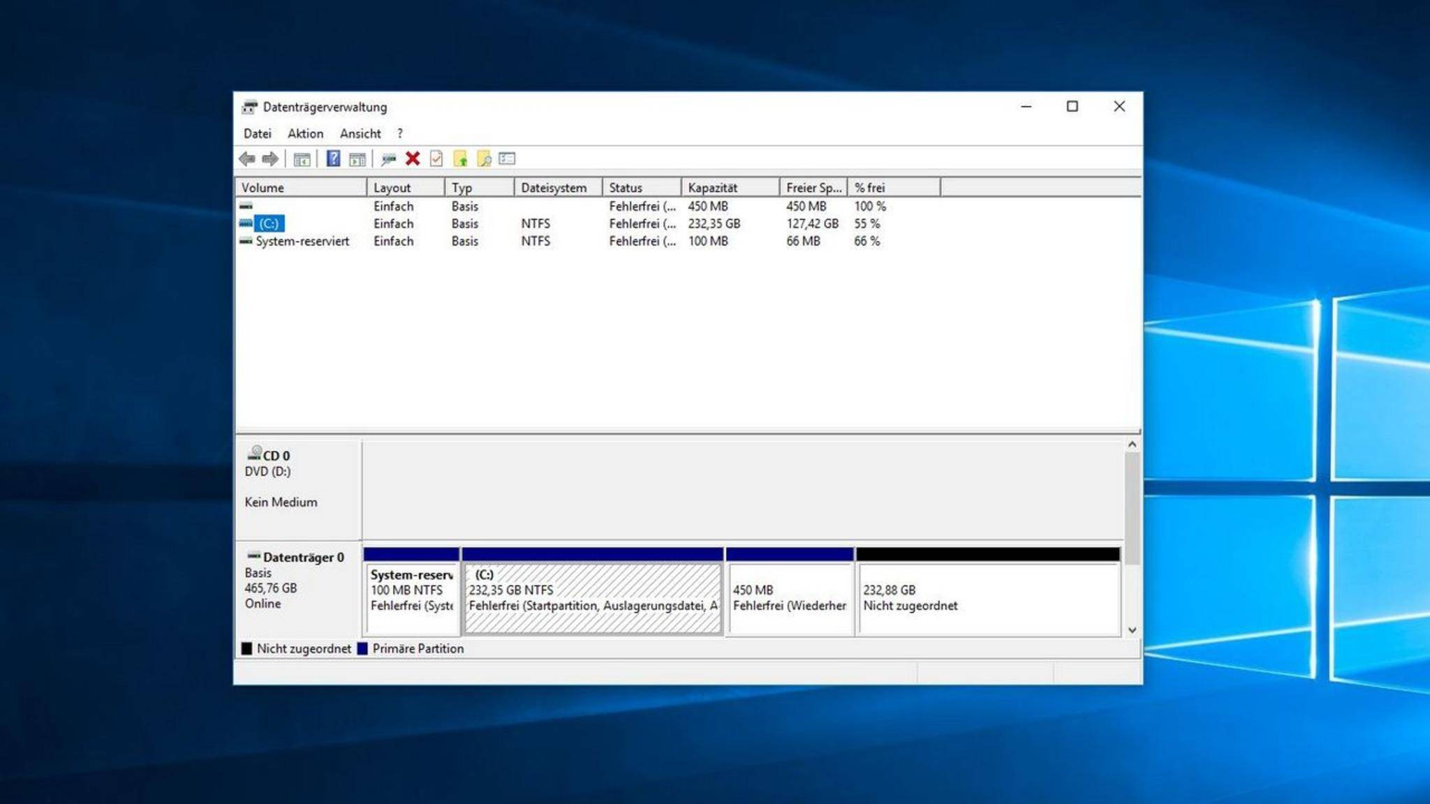 In der Datenträgerverwaltung werden sämtliche PC-Laufwerke angezeigt.