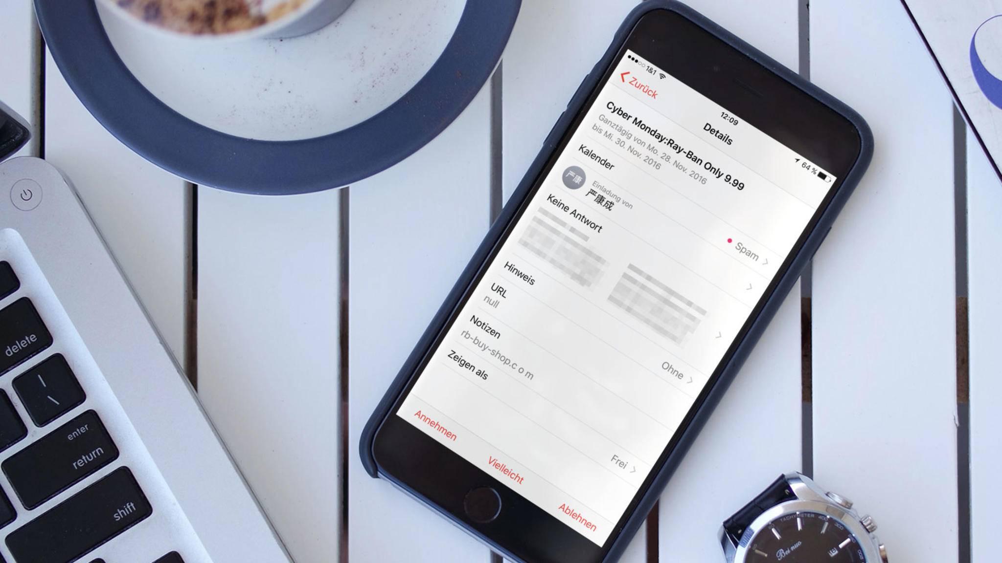 Kalender-Spam auf dem iPhone nimmt derzeit rasant zu.