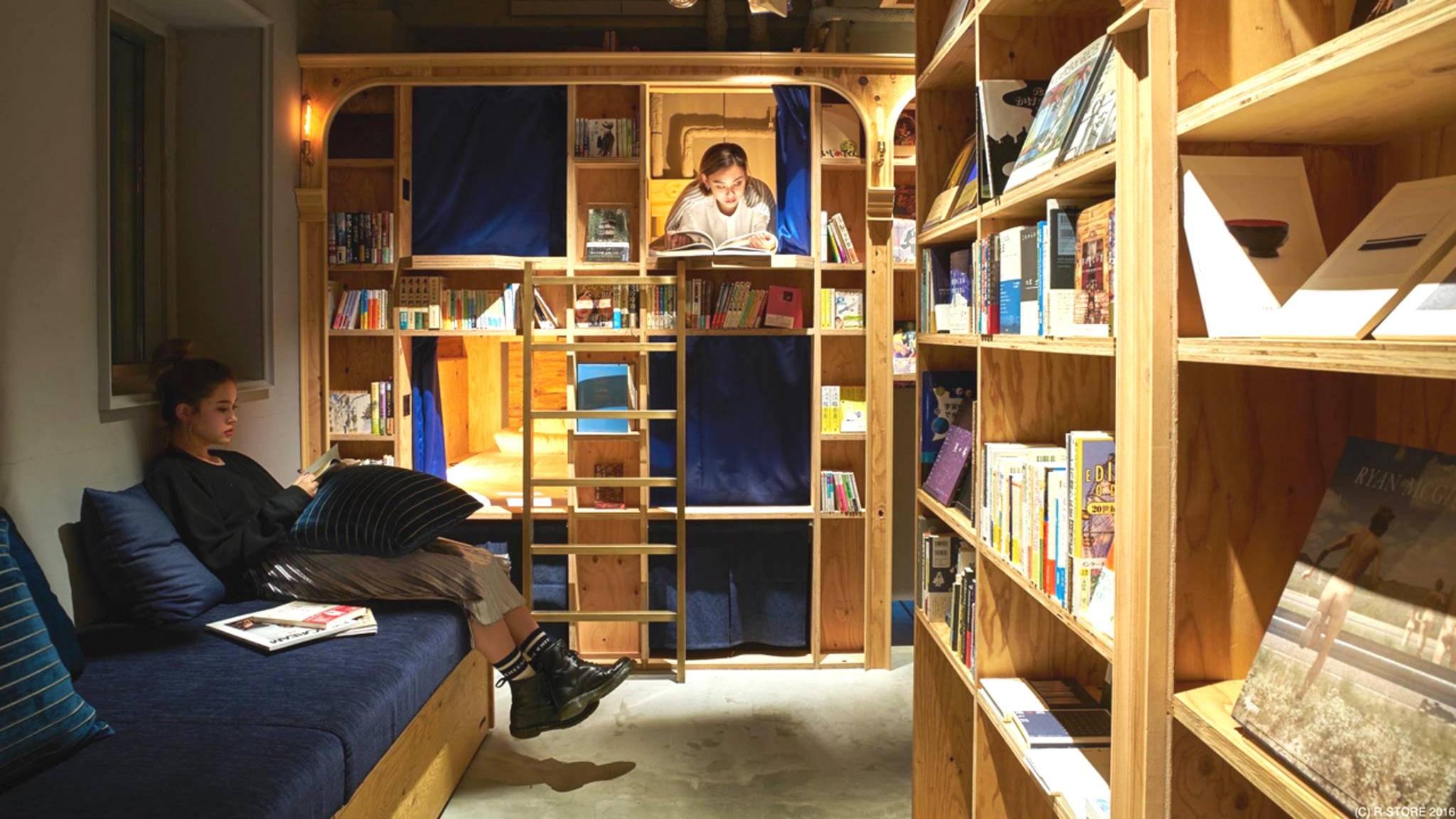 Bücher, wohin man schaut: Im Book & Bed Hostel kommen Leseratten vor lauter Lesen kaum zur Ruhe.