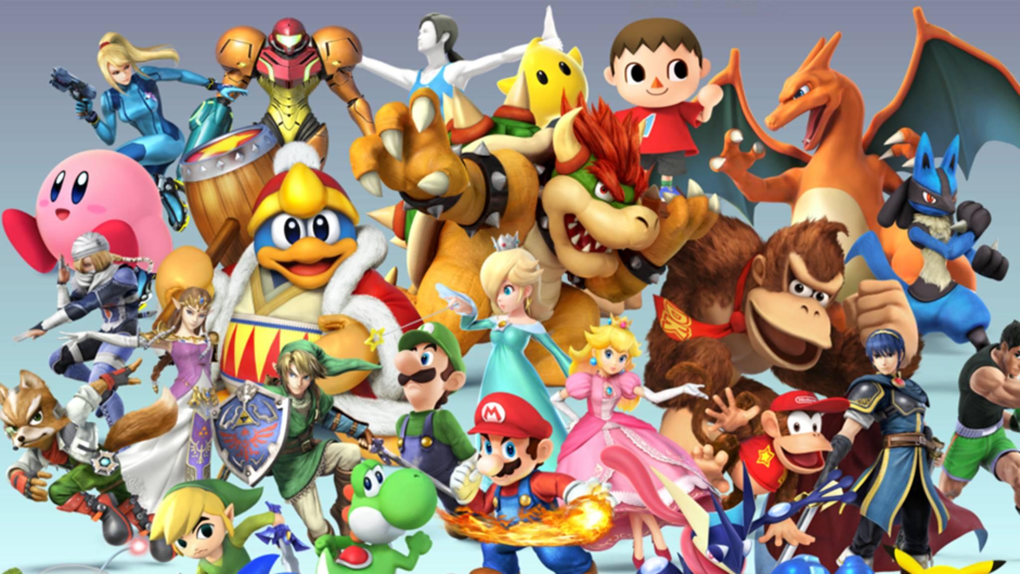 """Kunterbuntes Kuddelmuddel: """"Super Smash Bros."""" treibt den Crossover-Gedanken mit Charakteren aus zahlreichen Game-Franchises auf die Spitze."""