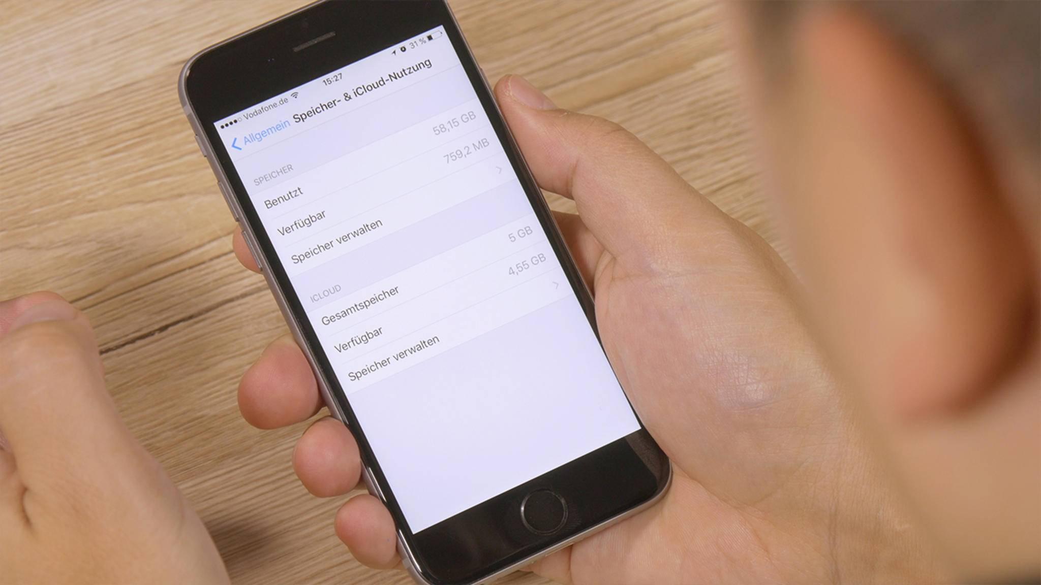 Nach dem Update auf iOS 10.3 wird belegter Speicher neu berechnet.