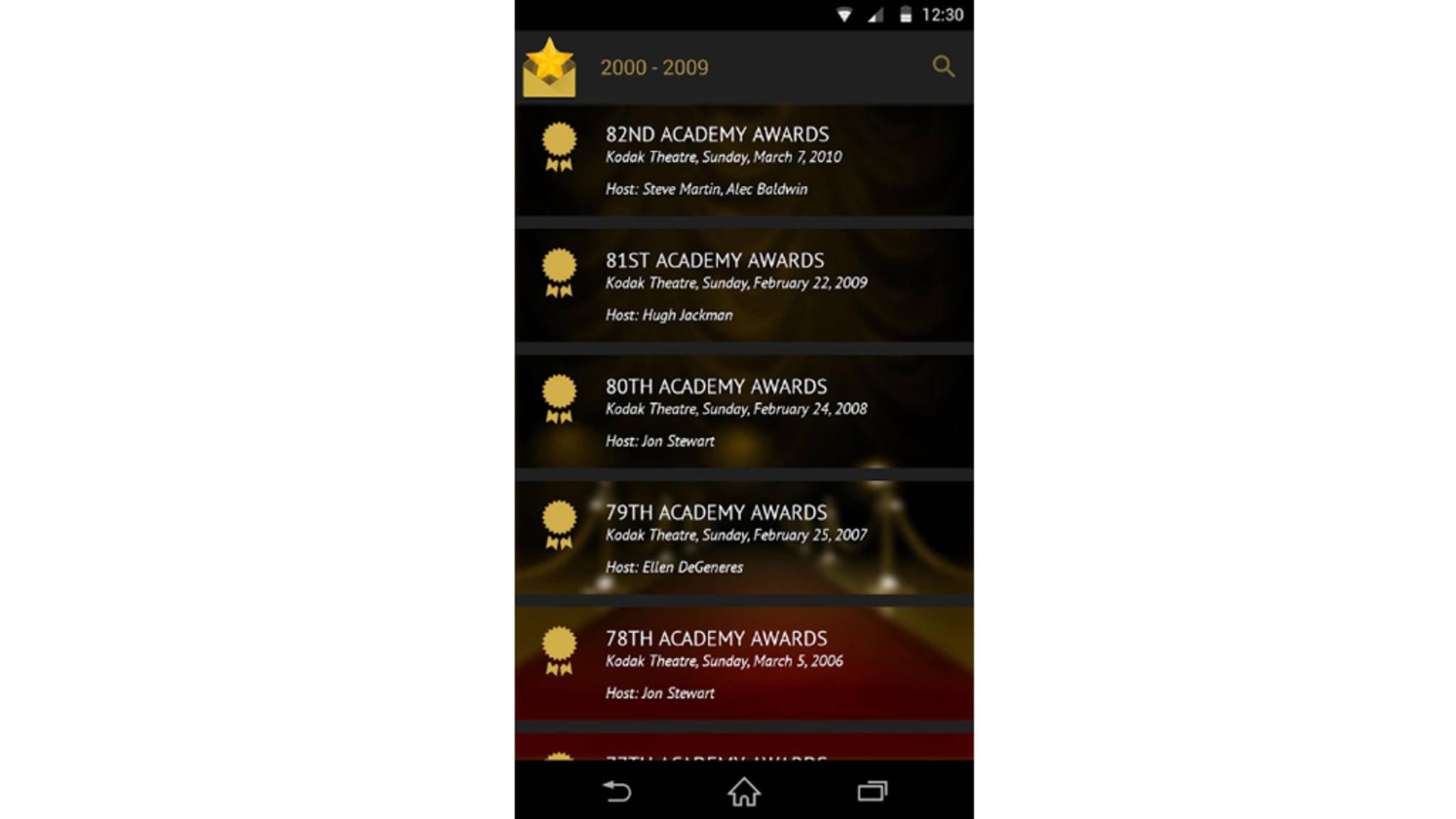 Die Geschichte der Oscars? Ein Blick in diese praktische App genügt.